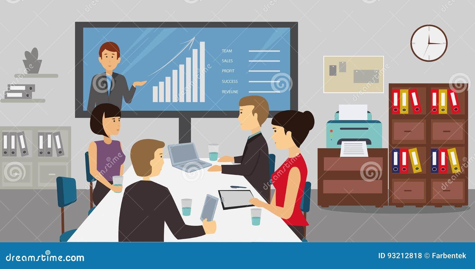 Ludzie biznesu sieci konferencyjnego spotkania w biurze