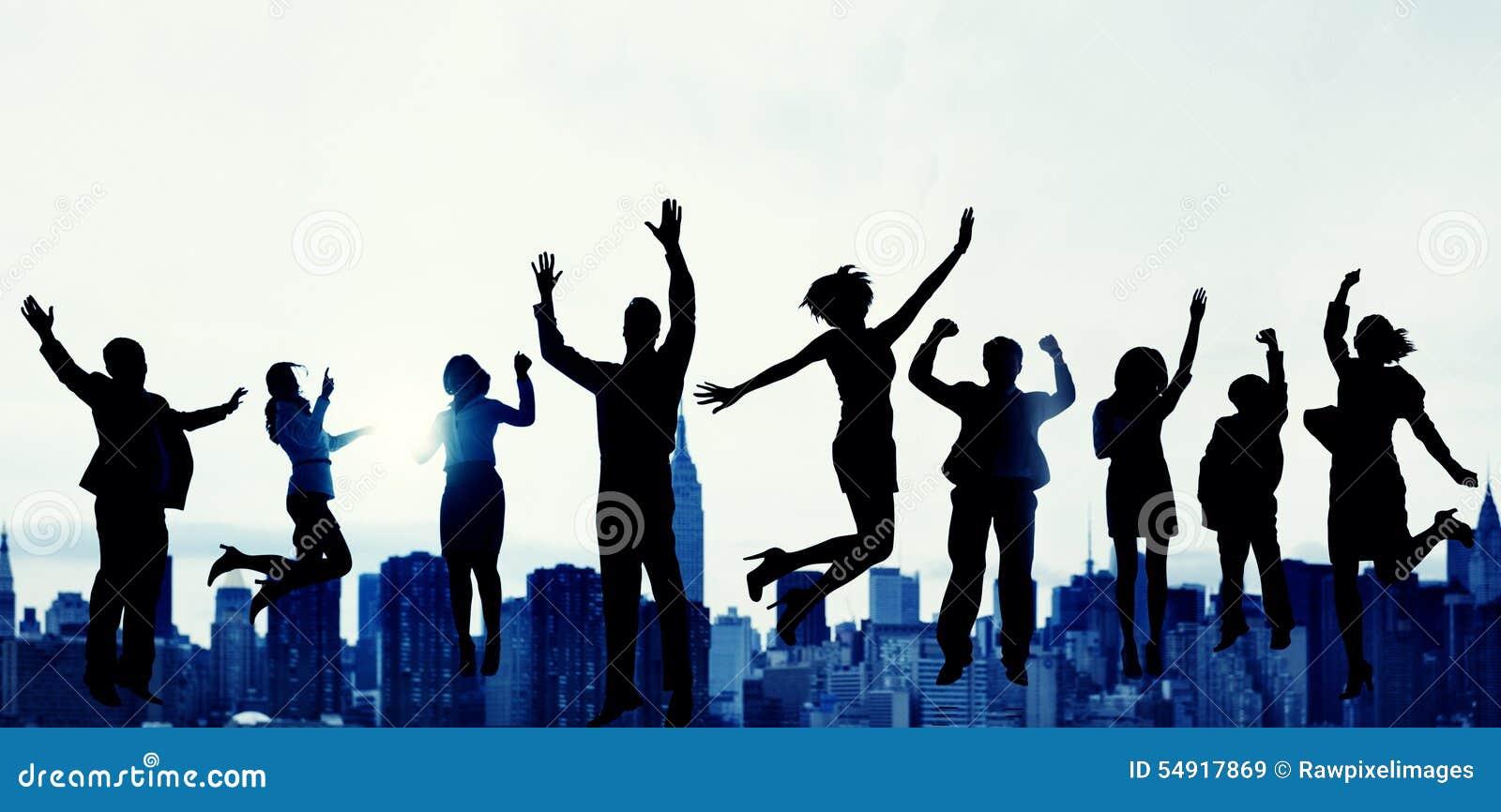 Ludzie Biznesu sukcesu podniecenia zwycięstwa osiągnięcia pojęcia