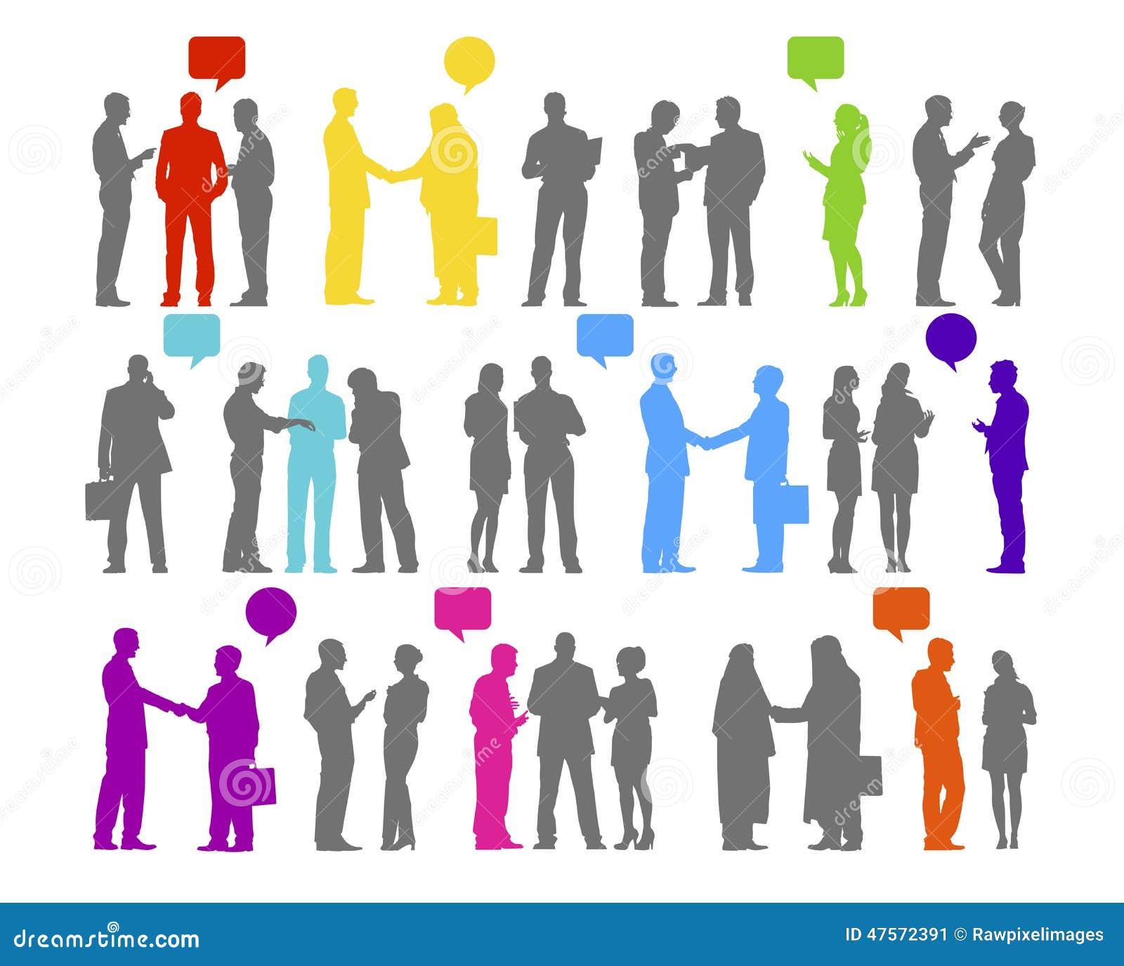 Ludzie Biznesu sylwetka współpracy Podłączeniowego pojęcia