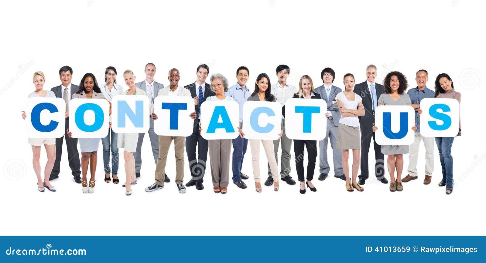 Ludzie Biznesu Trzyma plakaty Tworzy kontakt My