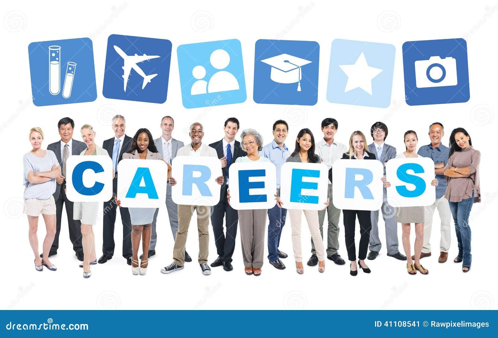 Ludzie Biznesu Trzyma słowo kariery i Powiązanych symbole