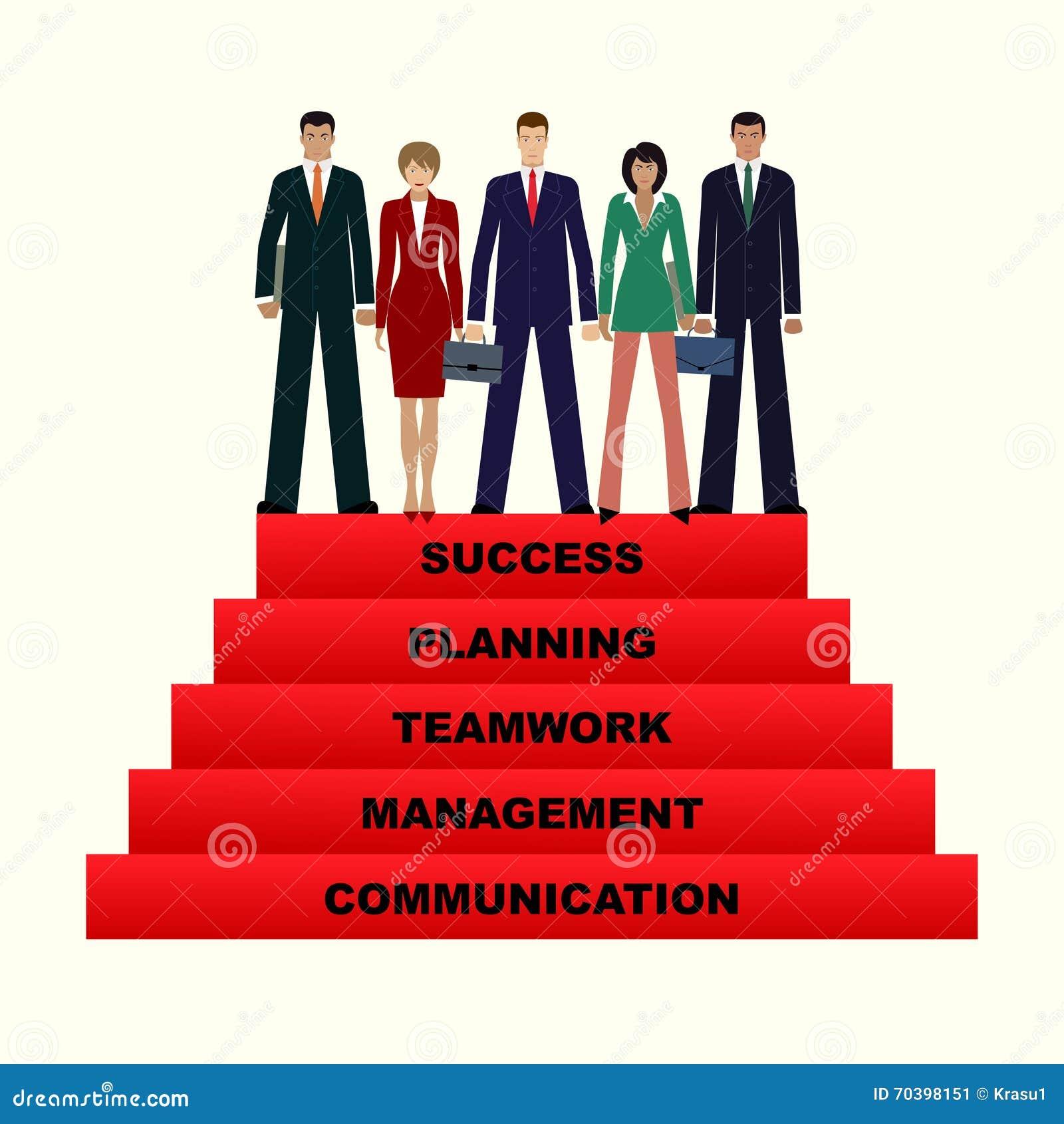 Ludzie biznesu zespalają się iść do sukcesu, 5 krok dla sukcesu