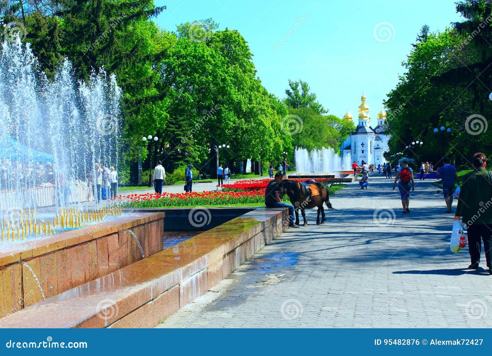 Ludzie chodzą w parku z kwiat fontannami i łóżkami
