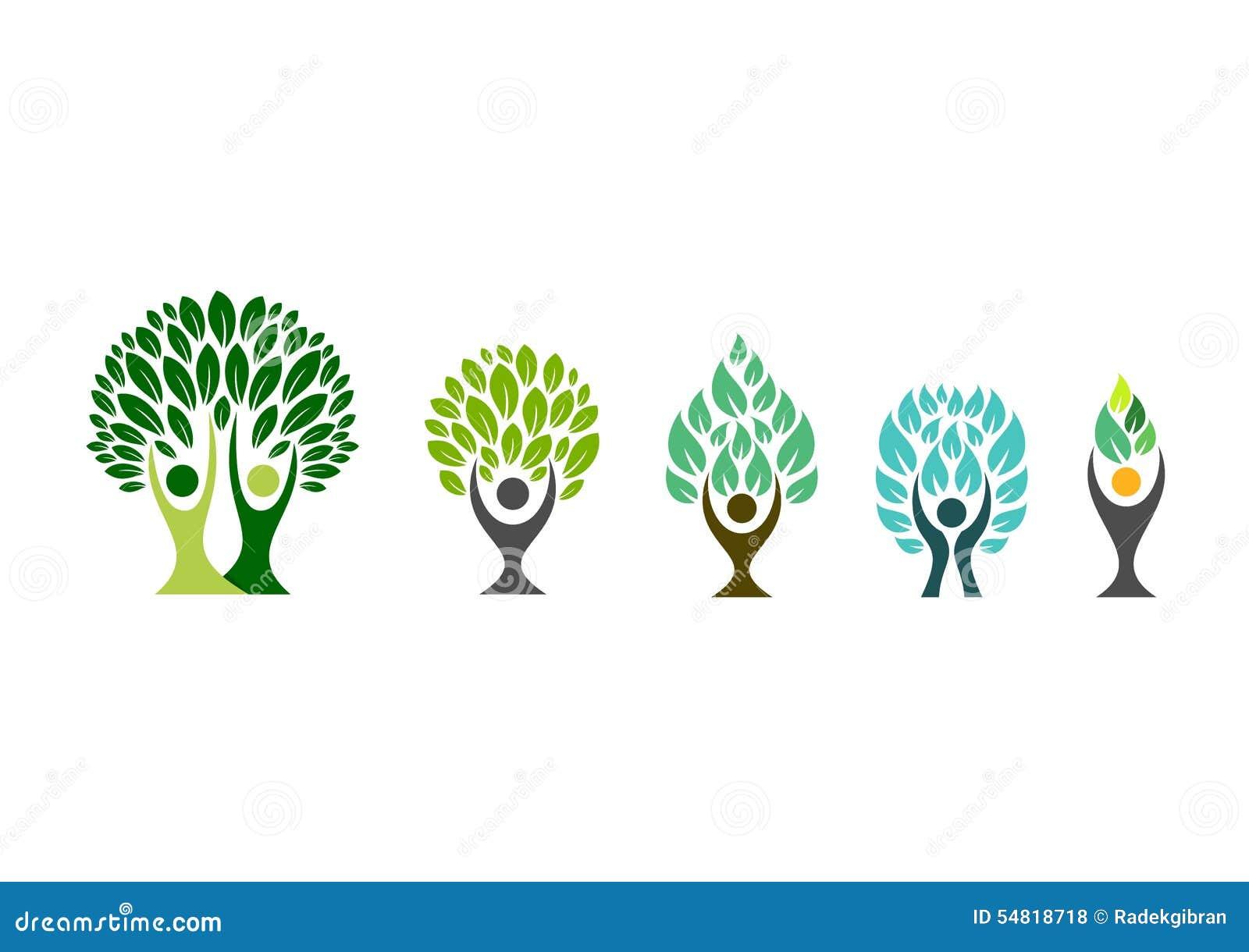 Ludzie drzewnego loga, wellness symbol, sprawności fizycznej zdrowej ikony projekta ustalony wektor