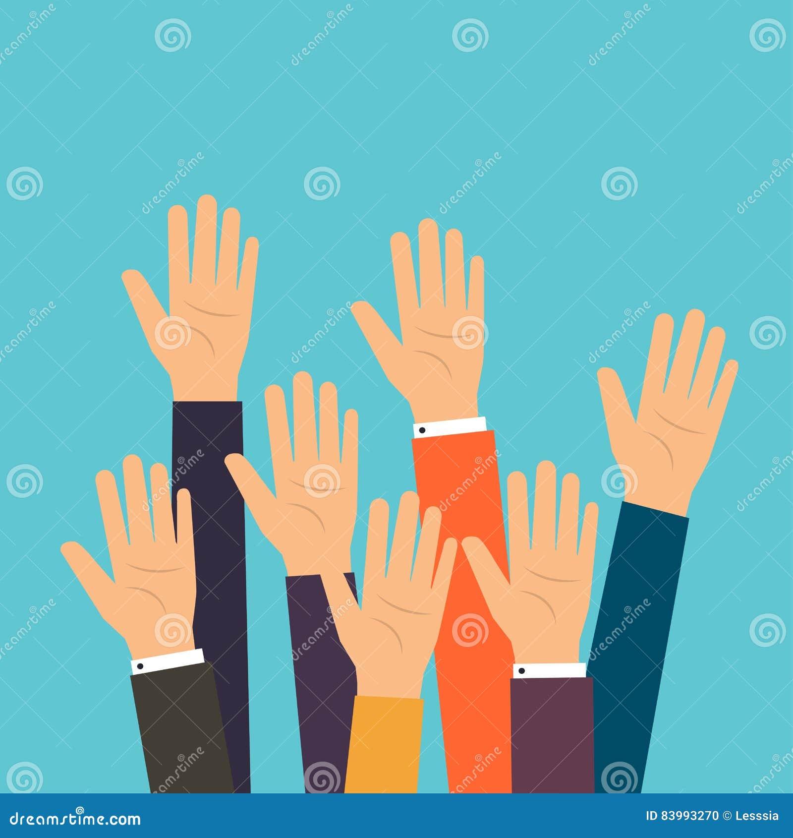 Ludzie głosowanie ręk Nastroszony ręk zgłaszać się na ochotnika Płaski projekt nowożytny