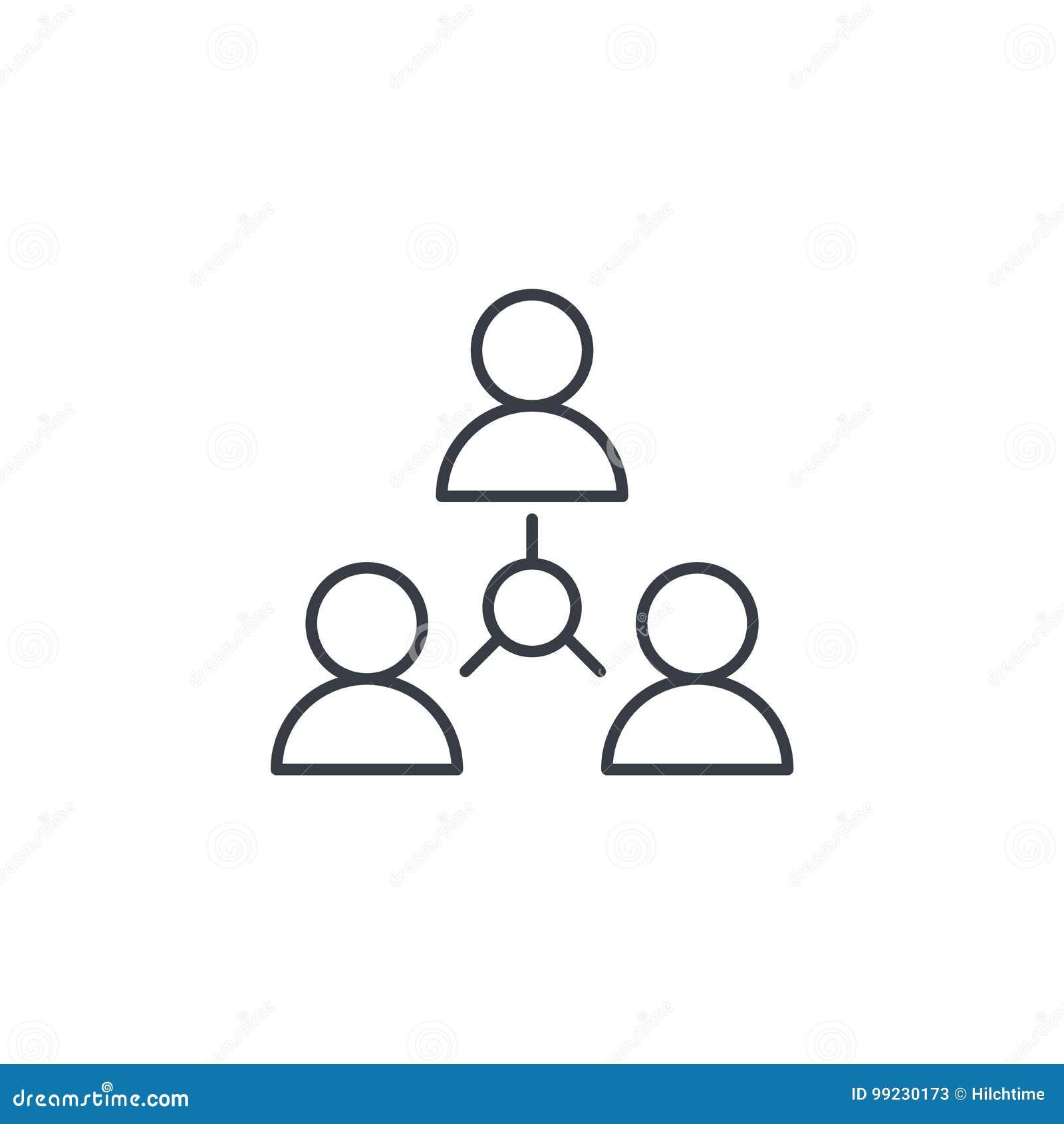 Ludzie grupują, społeczność, sieci cienka kreskowa ikona Liniowy wektorowy symbol
