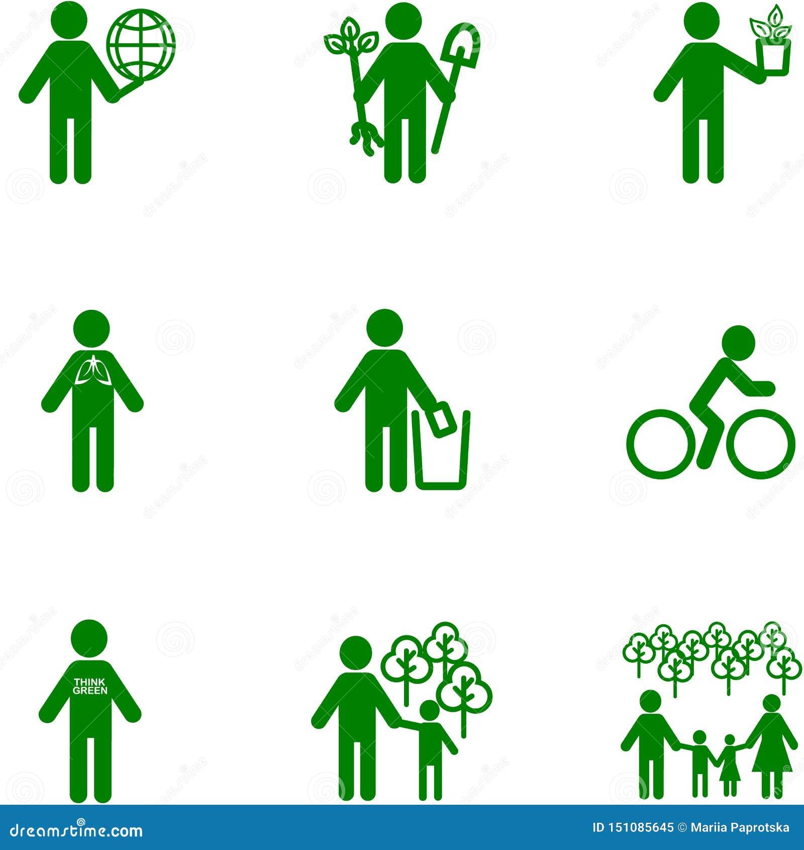 Ludzie ikony na temacie ekologia