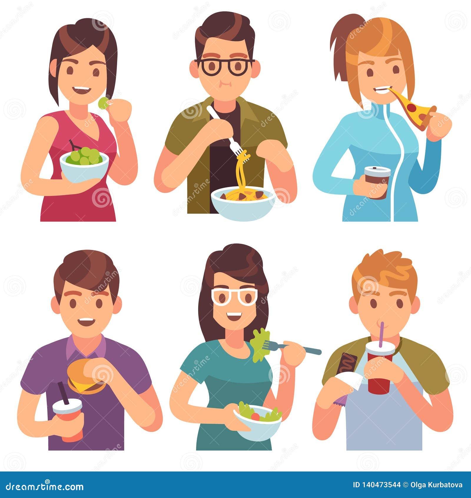 Ludzie jeść Je pić karmowego mężczyzna kobiet naczyń posiłków zdrowego smakowitego cukiernianego przypadkowego lunchu głodnych pr