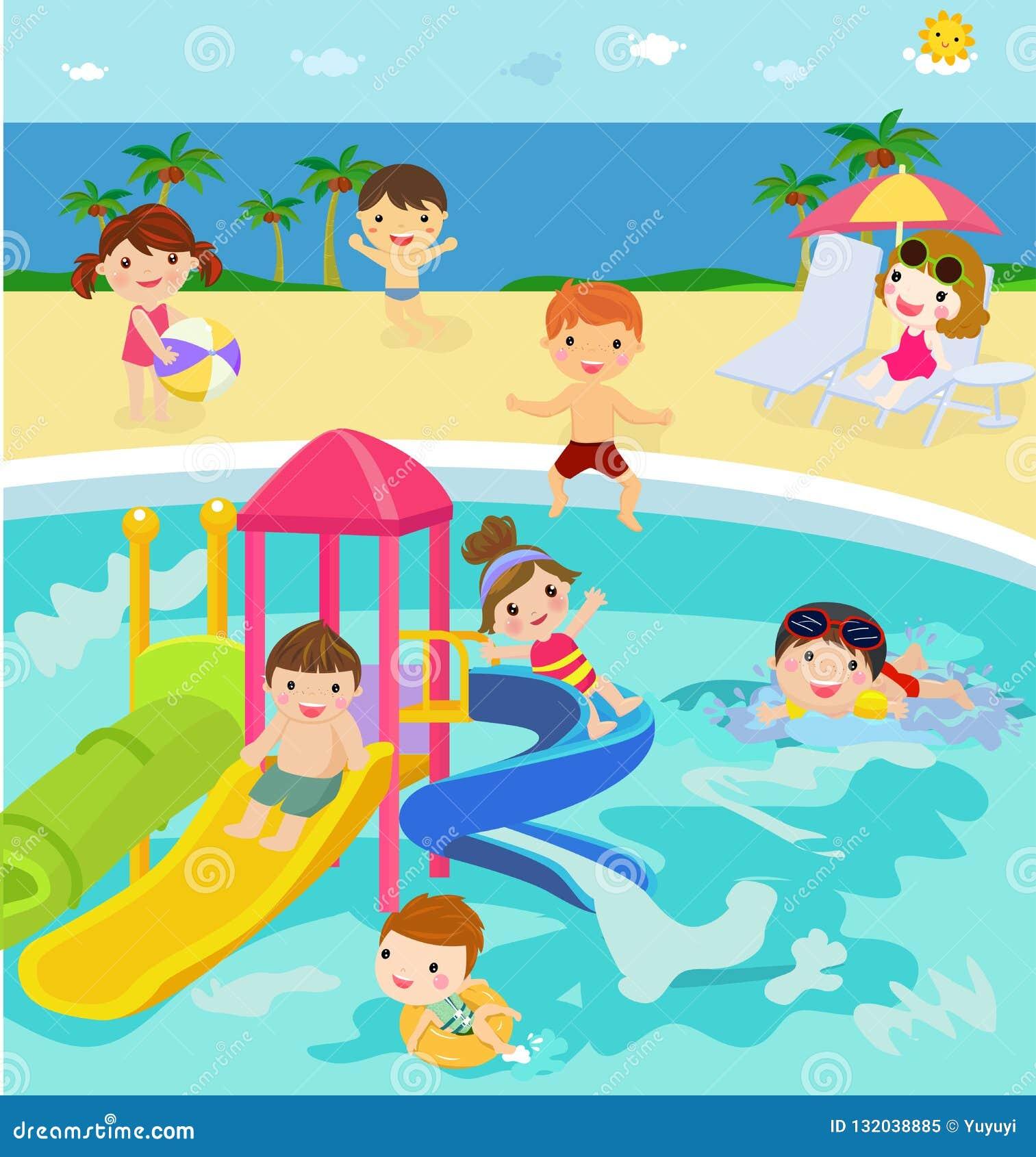 Ludzie pływa w aqua parku