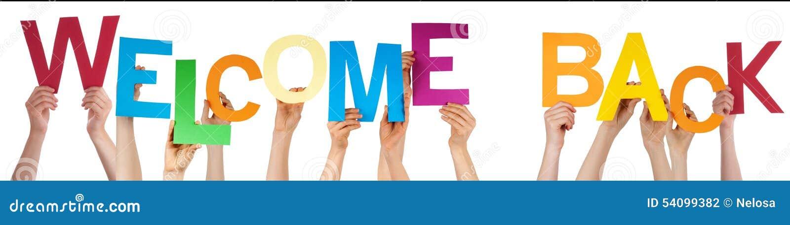 Ludzie ręk Trzyma Kolorowego słowa powitanie Z powrotem