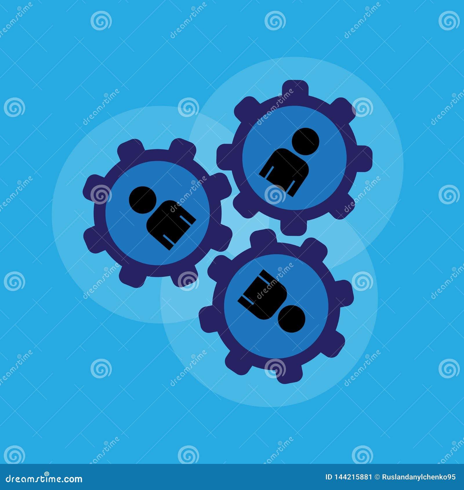 Ludzie s? jak jeden mechanizm Mechanizm praca Jeste?my wszystko jako jeden ca?y, ruch i prawo??, r?wnie? zwr?ci? corel ilustracji