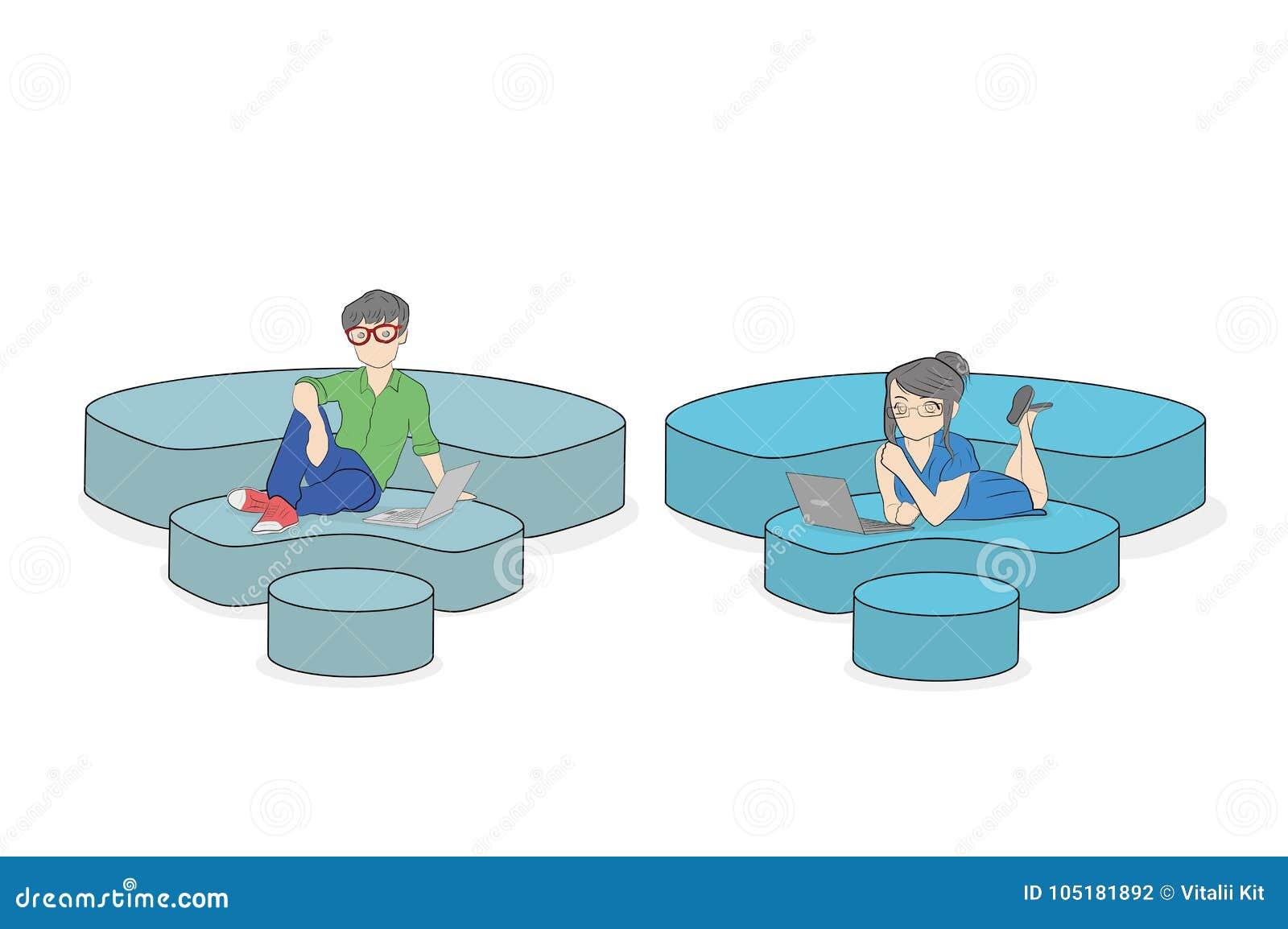 Ludzie siedzą na ikonach Fi, komunikuje z pomocą interneta pojęcie komunikacja w sieci Ve
