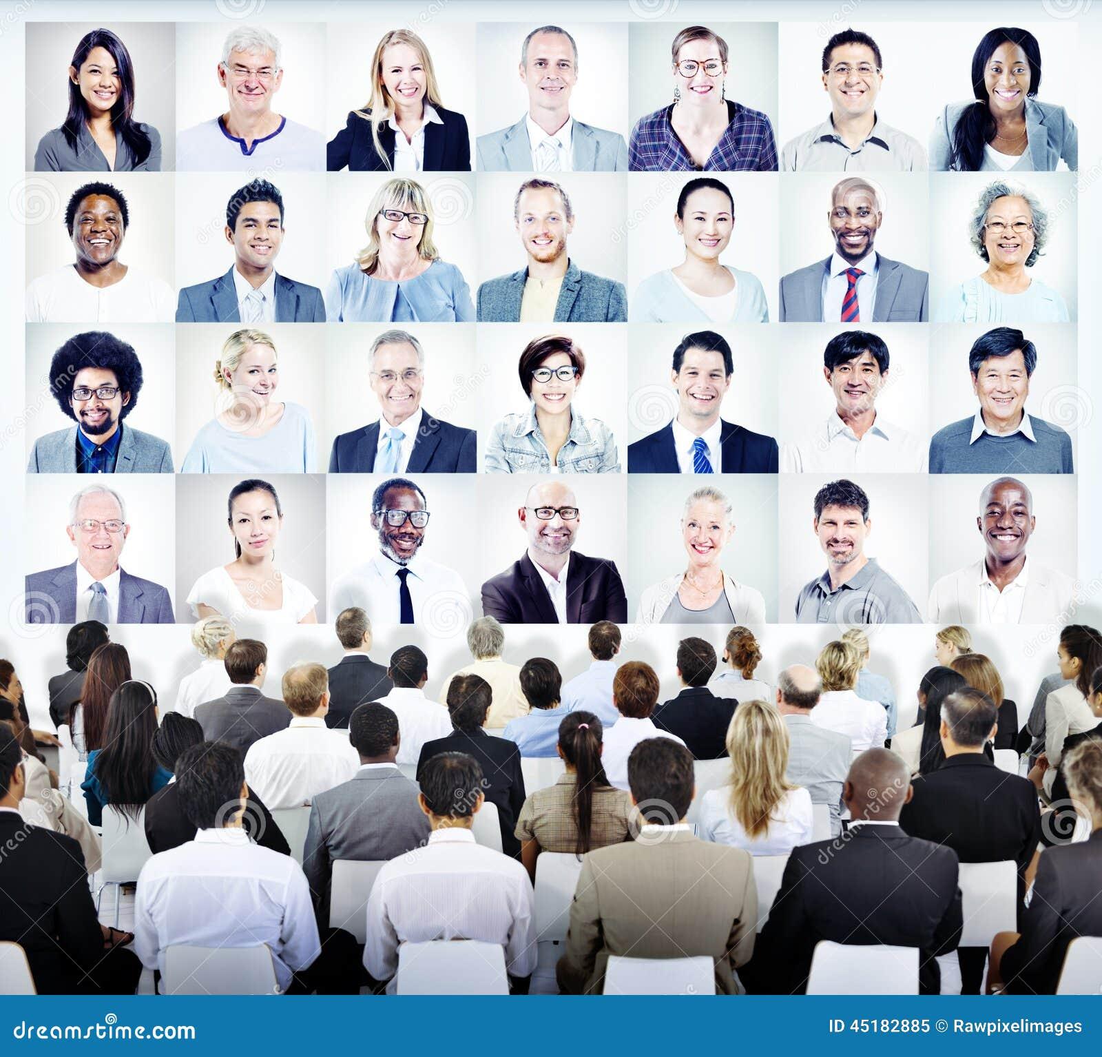 Ludzie Siedzi z setem Biznesowych osob twarze
