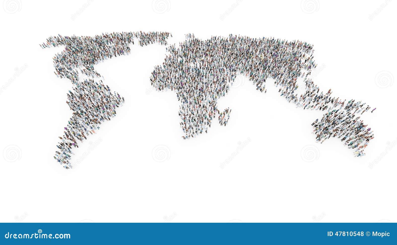 Ludzie tworzy światową mapę