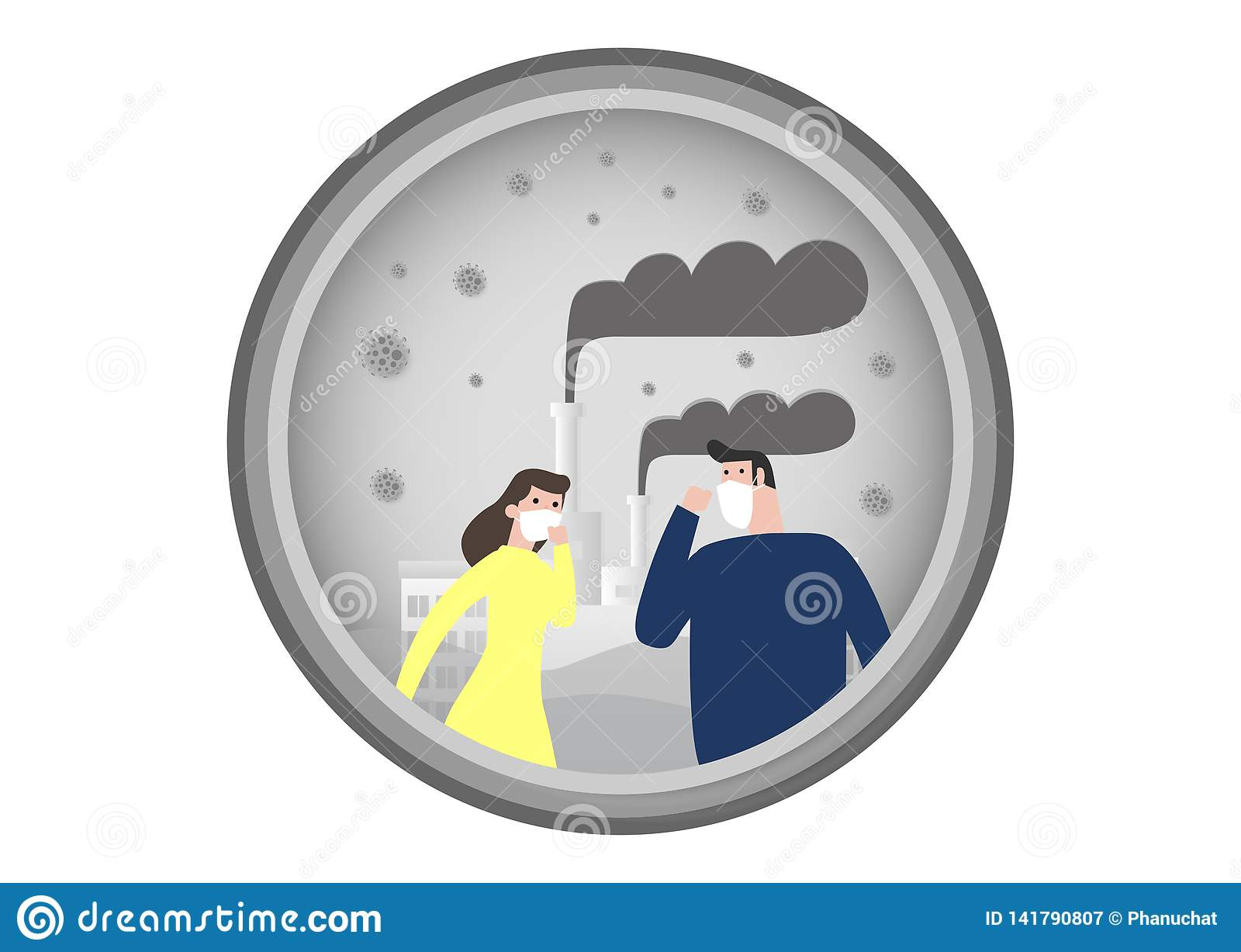 Ludzie w maskach przez świetnego pyłu PM 2 5, mężczyzna i kobieta jest ubranym maskę przeciw smogowi, Świetny pył, zanieczyszczen