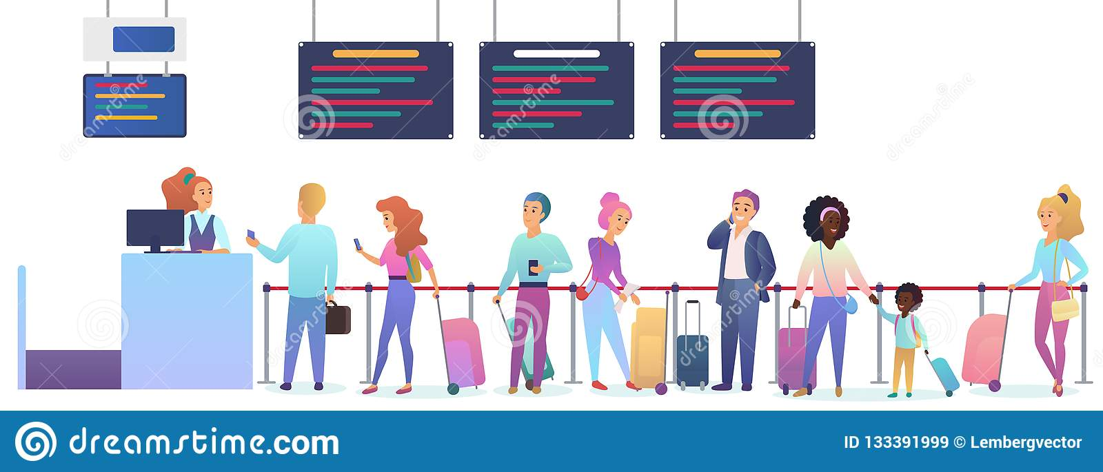 Ludzie z bagażowym czekać na samolotowym odjazdem w lotnisku Mężczyzny i kobiety pozycja w odprawa lota rejestracji