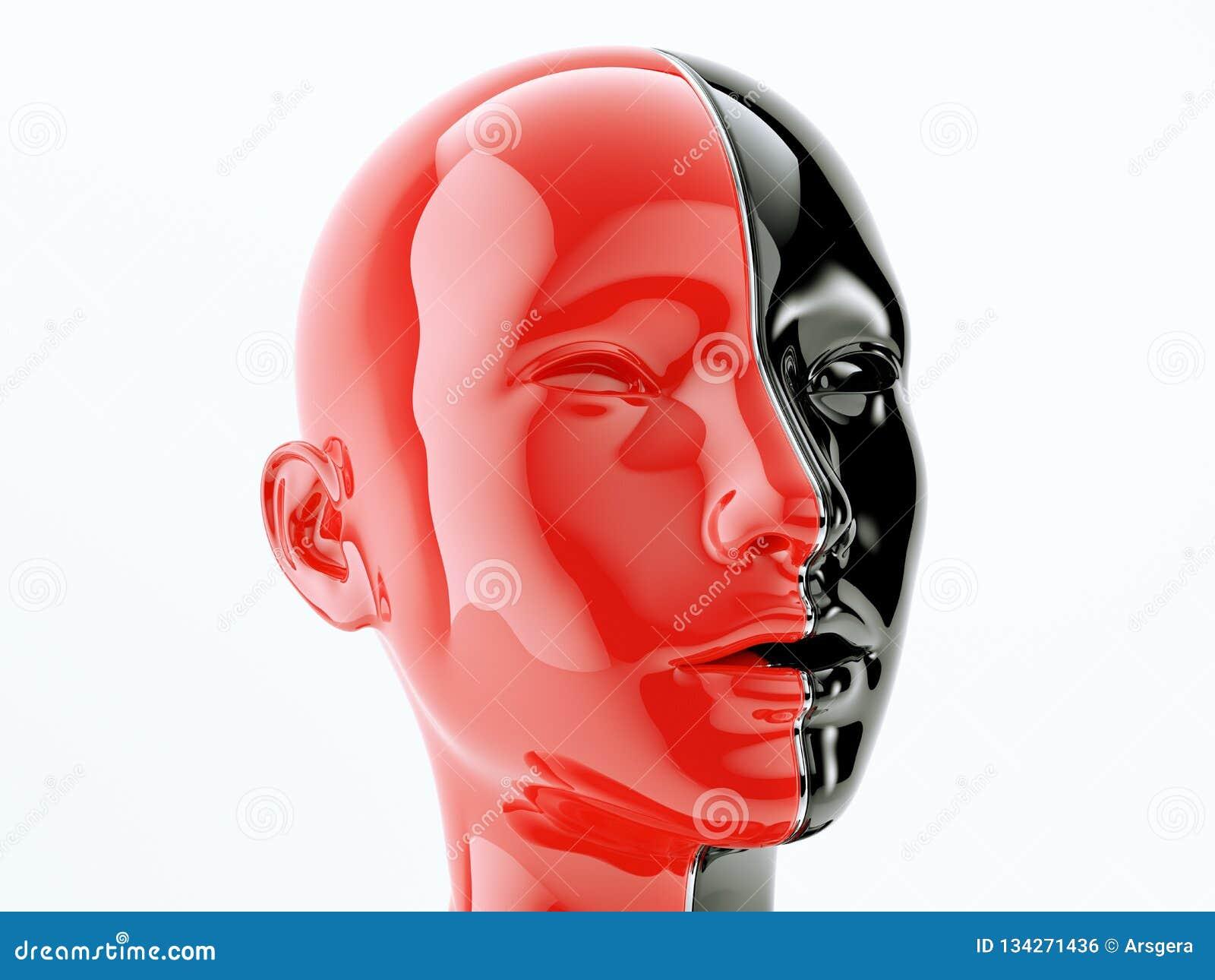 Ludzka głowa oddzielał linią jako symbol równowaga i różnorodność