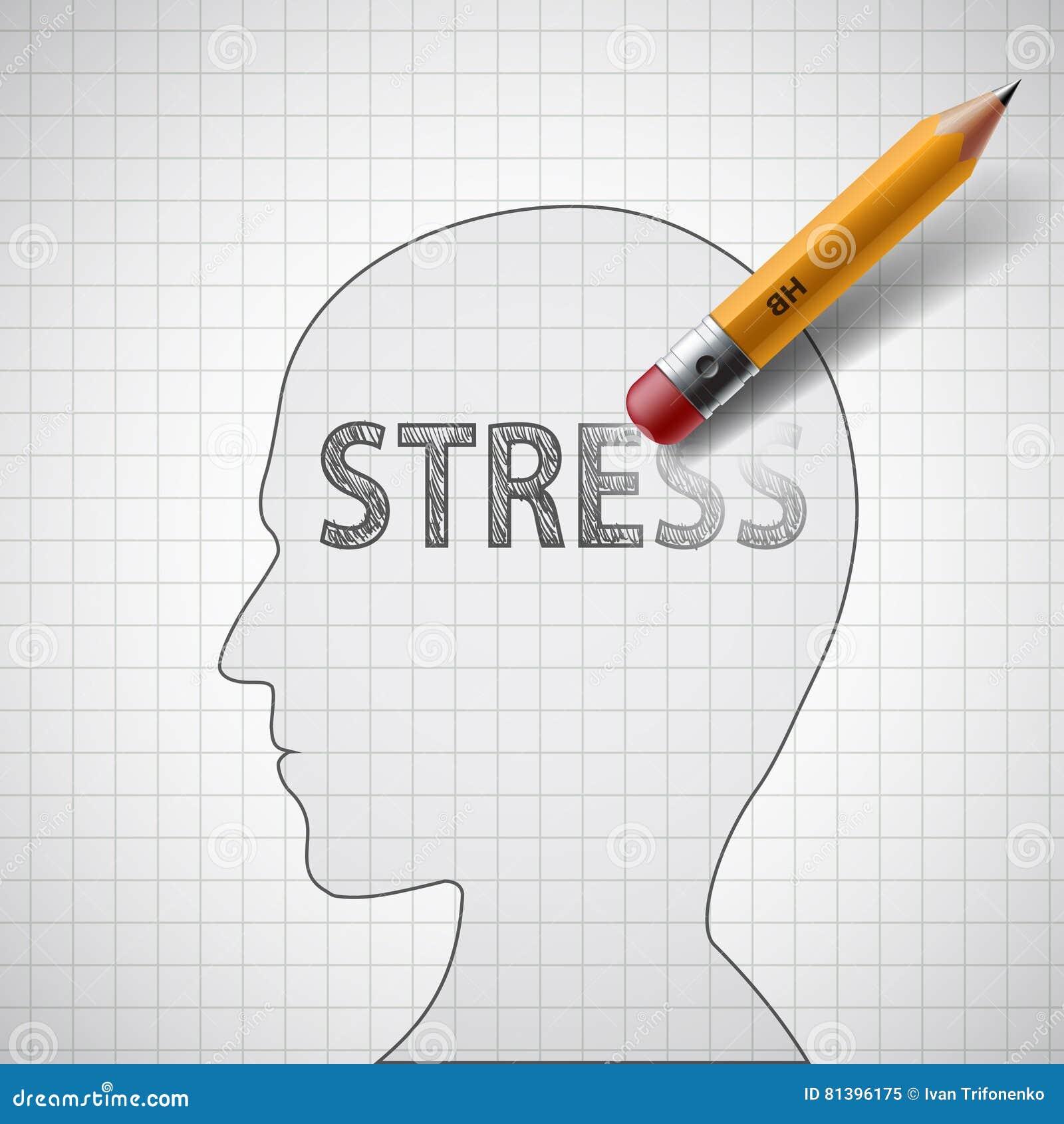 Ludzka głowa z słowo stresem Psychoterapeuta i antidepress
