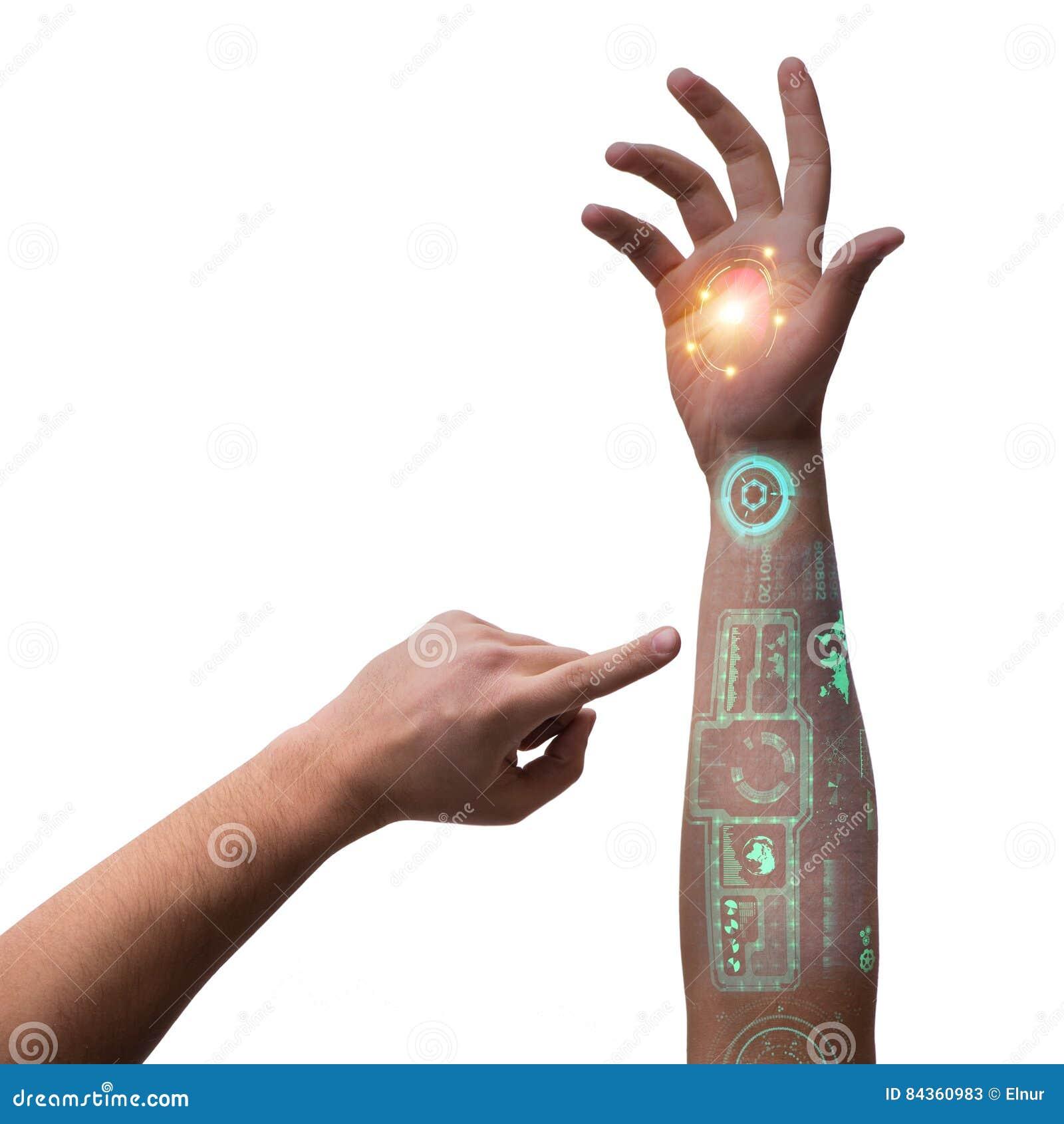 Ludzka mechaniczna ręka w futurystycznym pojęciu