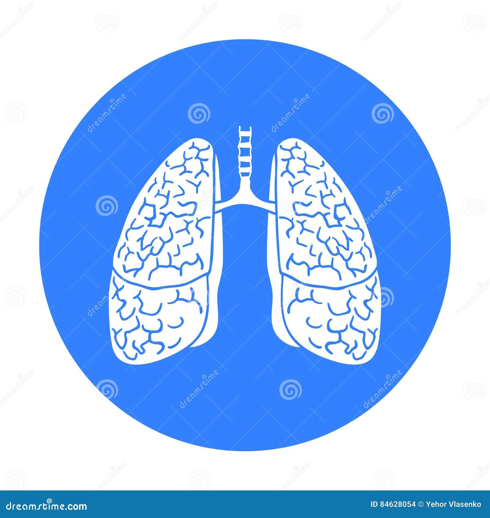 Ludzka płuco ikona w czerń stylu odizolowywającym na białym tle Ludzkich organów symbolu zapasu wektoru ilustracja