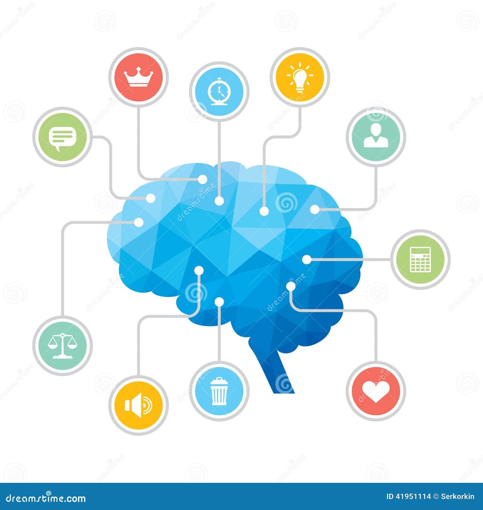 Ludzki Mózg - Błękitna wieloboka Infographic ilustracja