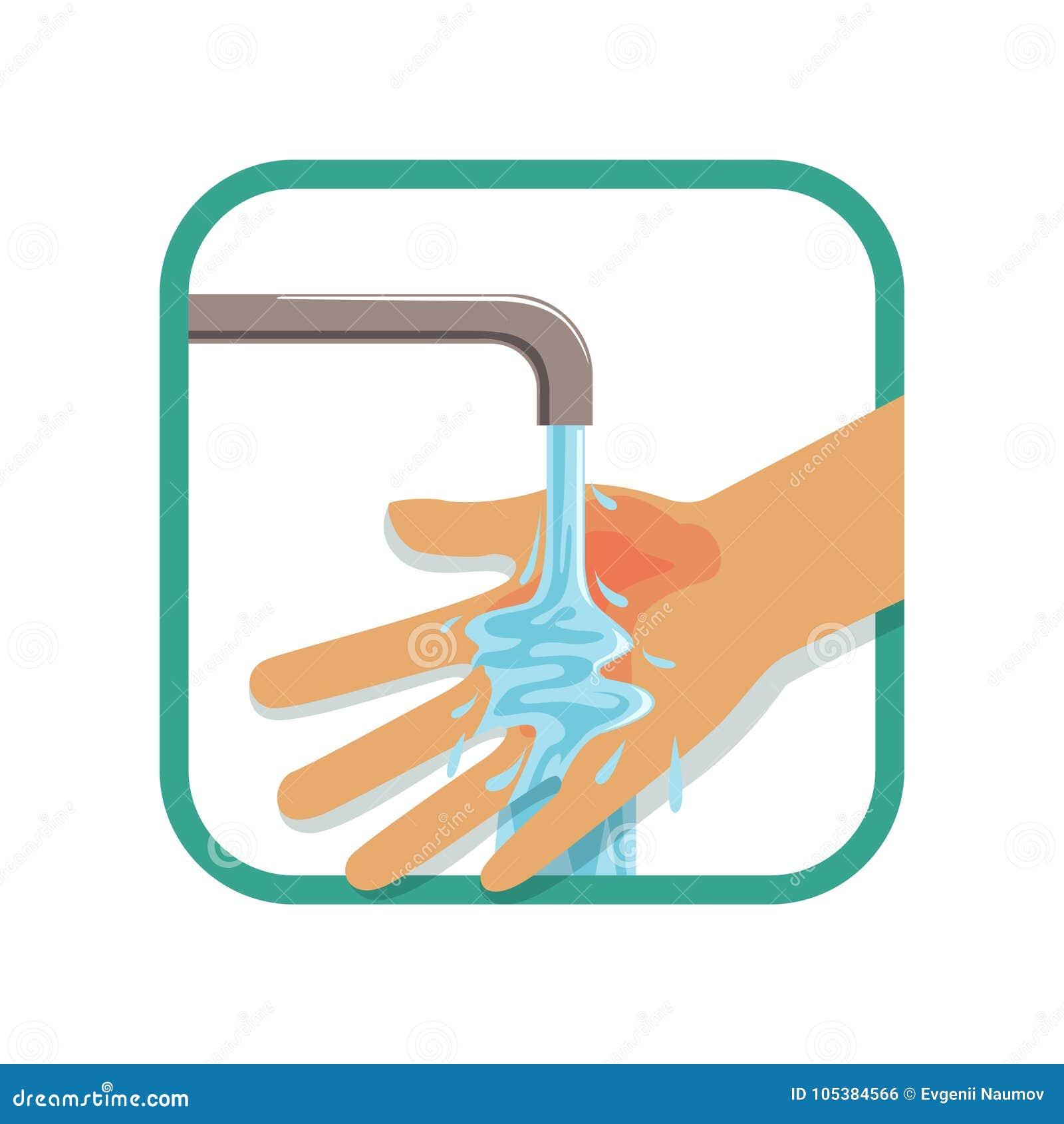 Ludzki ` s palił rękę pod chłodno wodą bieżącą Traktowanie dla pierwszy stopnia oparzenie Urazu pojęcie Płaski wektorowy projekt