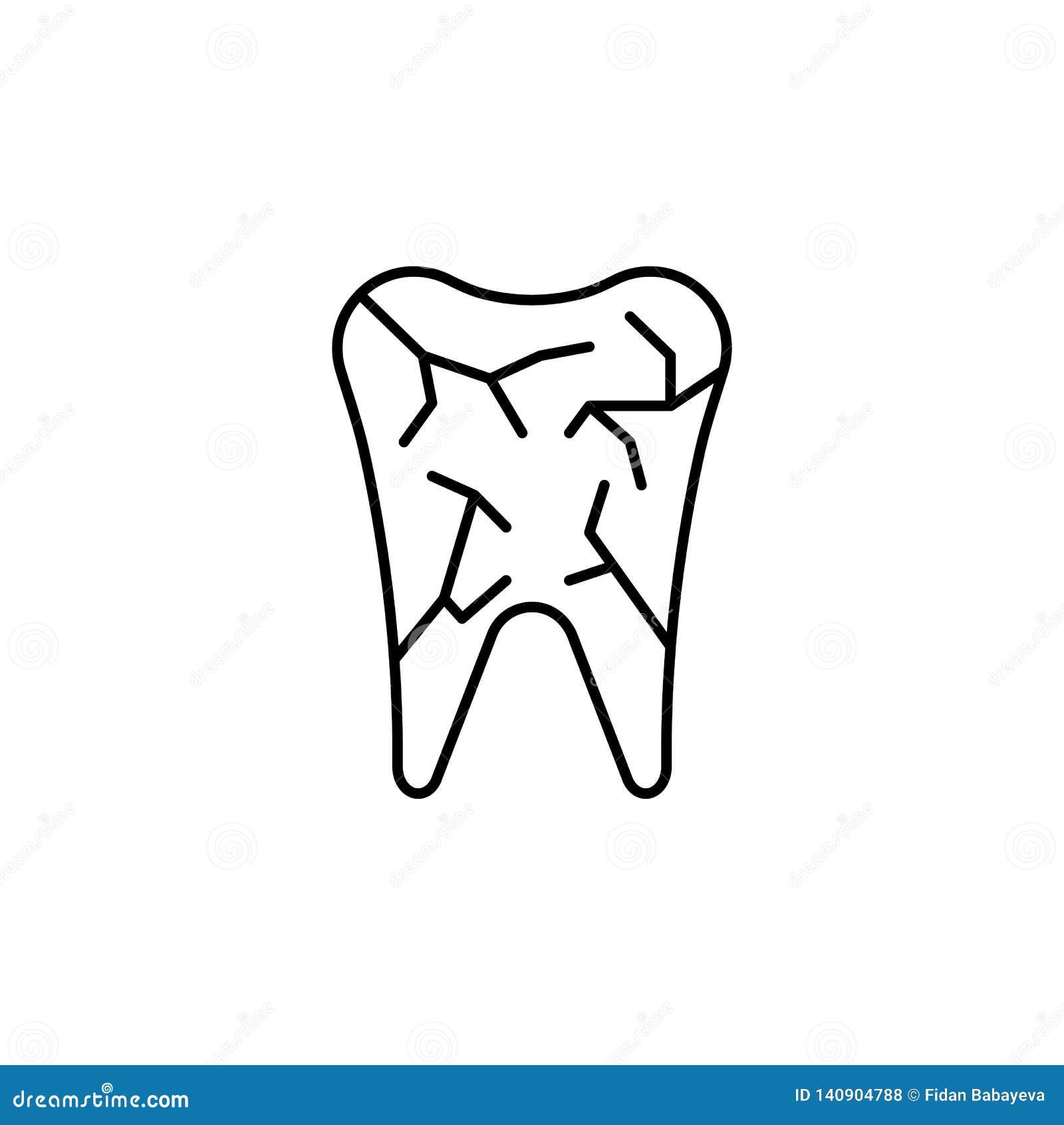 Ludzkiego organu zębu konturu ikona Znaki i symbole mogą używać dla sieci, logo, mobilny app, UI, UX