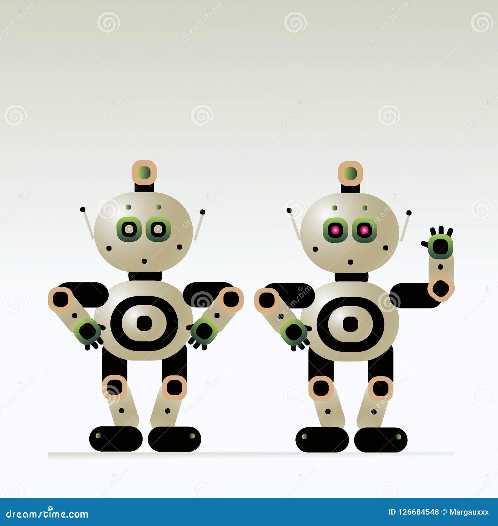 Ludzkiego robota pomocniczy instruktor odpowiada pytania i wita klientów