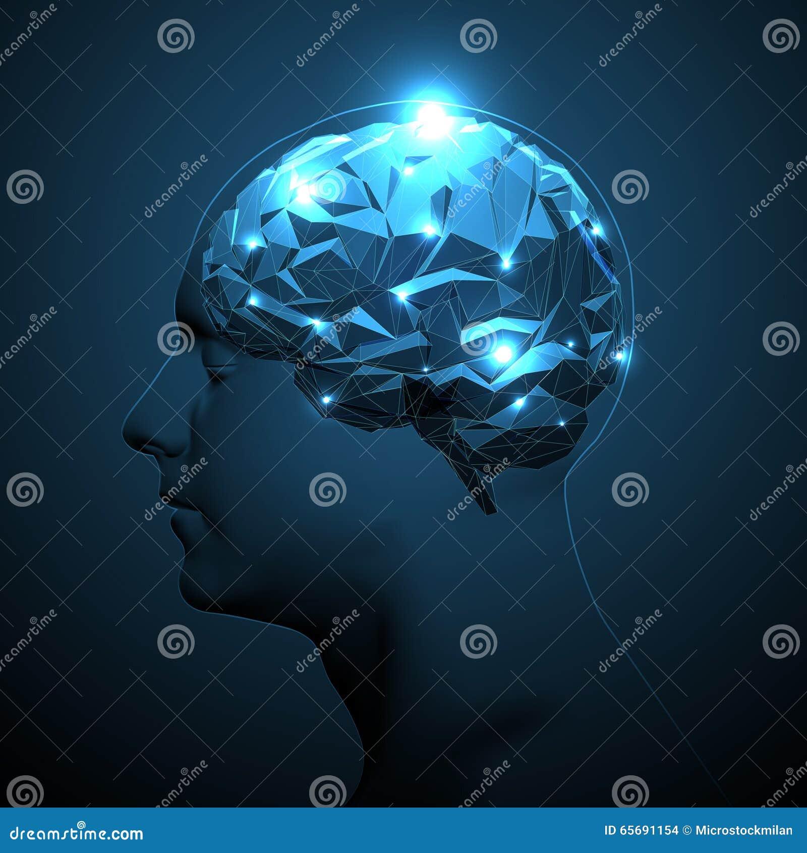 Ludzkiej głowy sylwetka z Aktywnym mózg