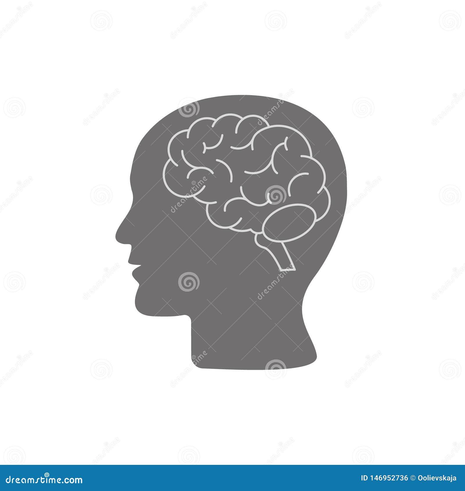 Ludzkiej g?owy profil z m??d?kowym symbolem, prosta czarna ikona, wektorowa ilustracja odizolowywaj?ca na bia?ym tle