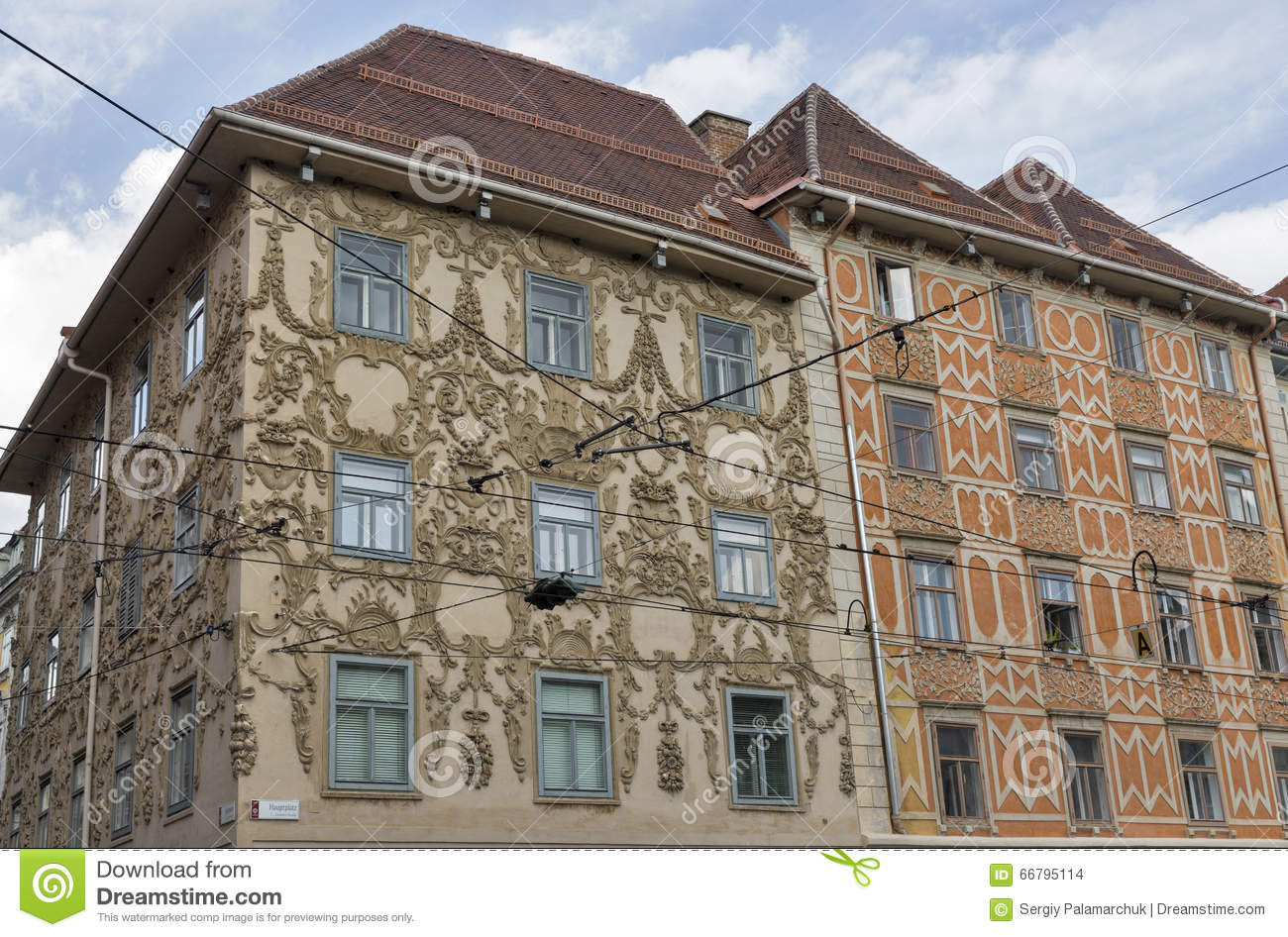 Luegg house in the old city of graz austria editorial for Stucco facade