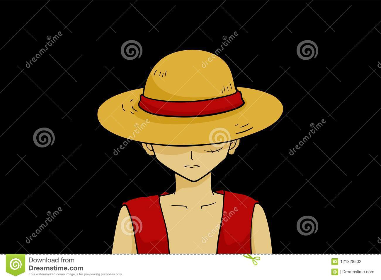 luffy the main character of one piece stock vector - illustration of