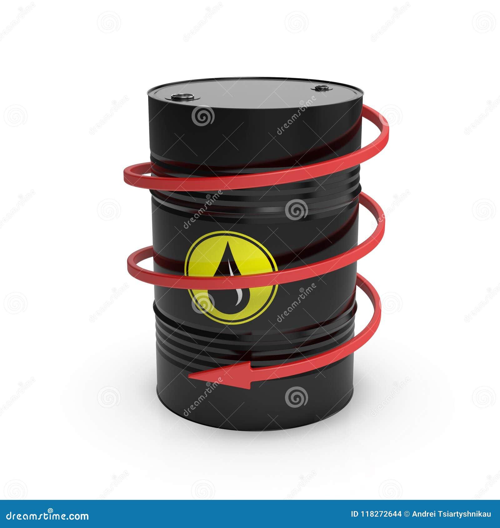 Lufowa niska cena Czarna baryłka z olejem i zmniejszający się ślimakowatą strzała ilustracja 3 d