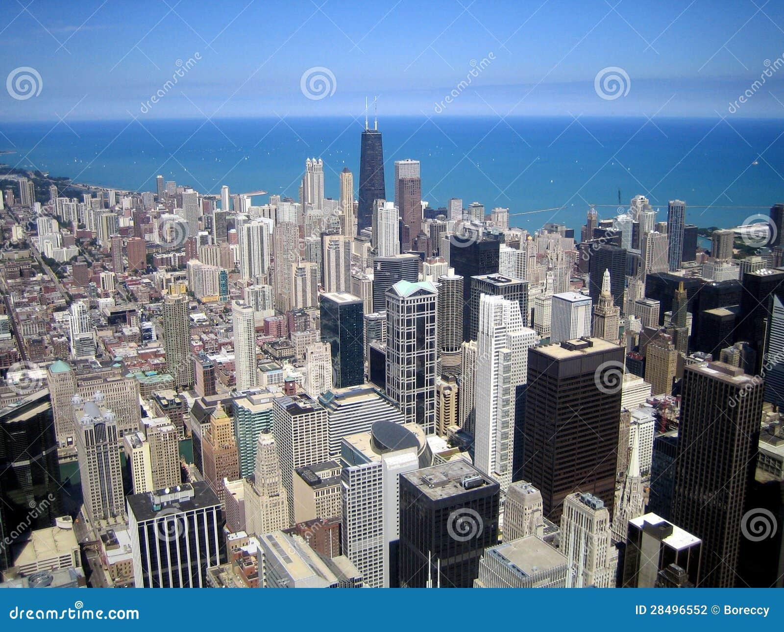 Luftaufnahme der Wolkenkratzer in der Stadt von Chicago, Illinois, USA