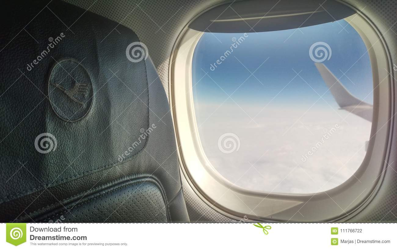 Miraculous Lufthansa Journey Airplane Blue Sky Editorial Photography Gmtry Best Dining Table And Chair Ideas Images Gmtryco