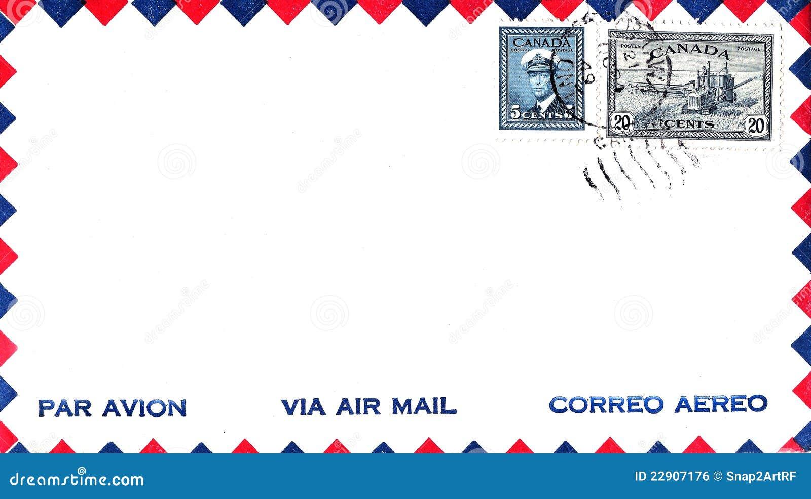 Briefe Mit Luftpost : Luftpost umschlag kanada mit stempeln lizenzfreies