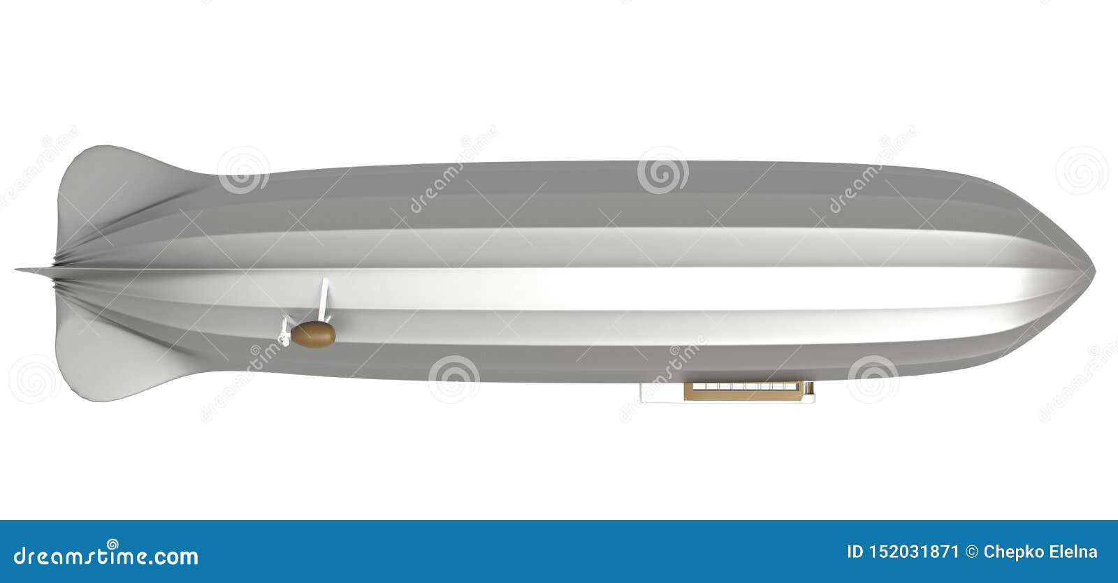 Luftschiff auf Weiß, lenkbares, Flugzeug, Zeppelin, 3d übertragen