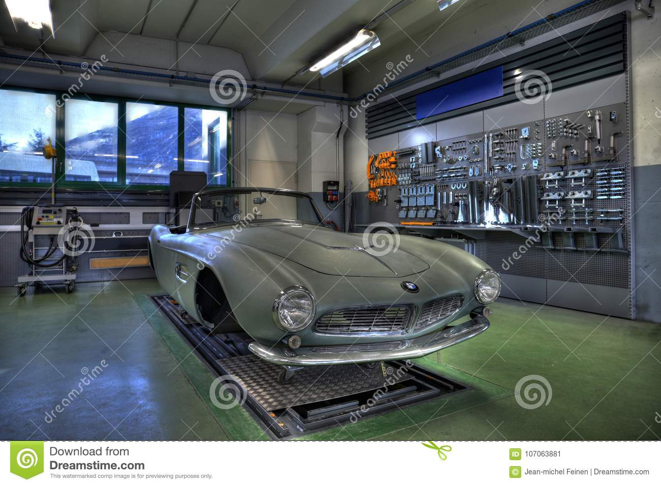 1950`s Classic Roadster Being Rebuilt In Garage Editorial Photo ...