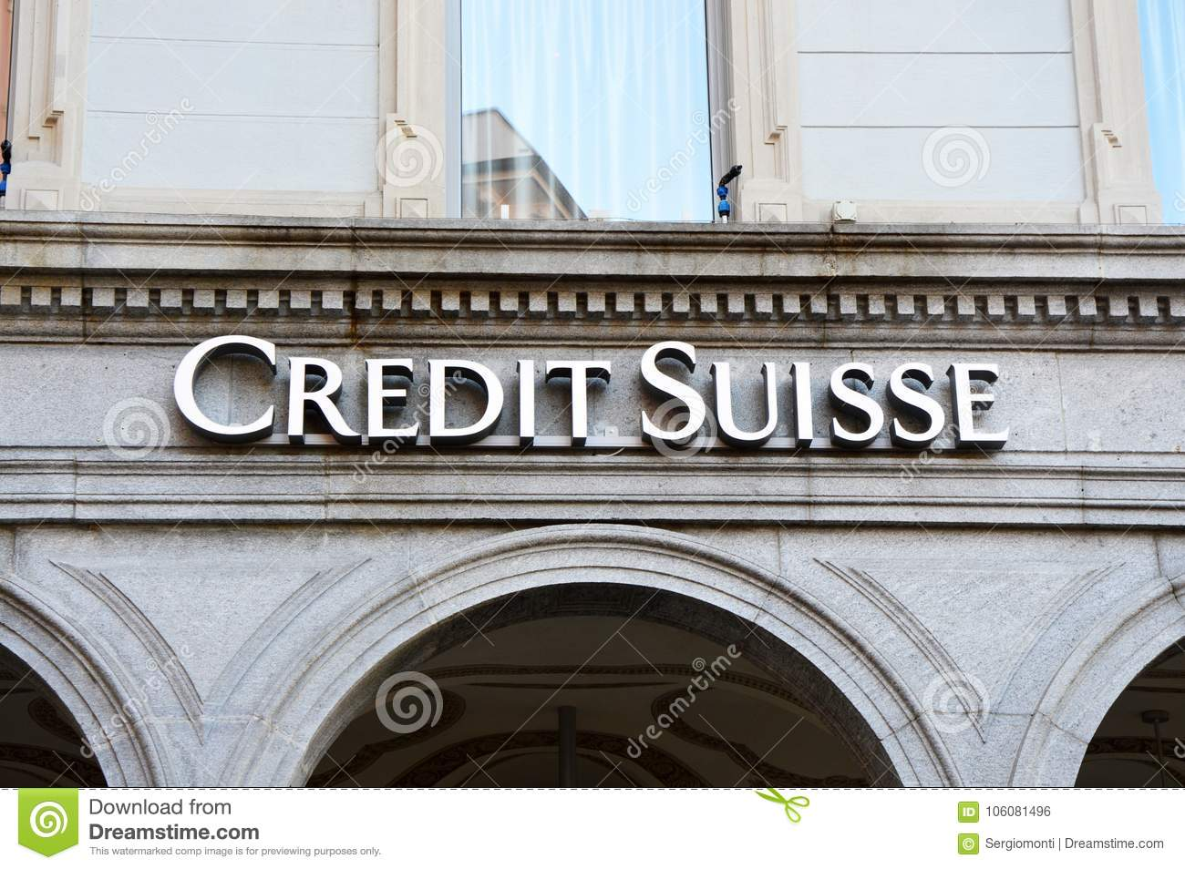 LUGANO, SWITZERLAND - NOVEMBER 27, 2017: Credit Suisse Group is a Swiss multinational financial services holding company that oper
