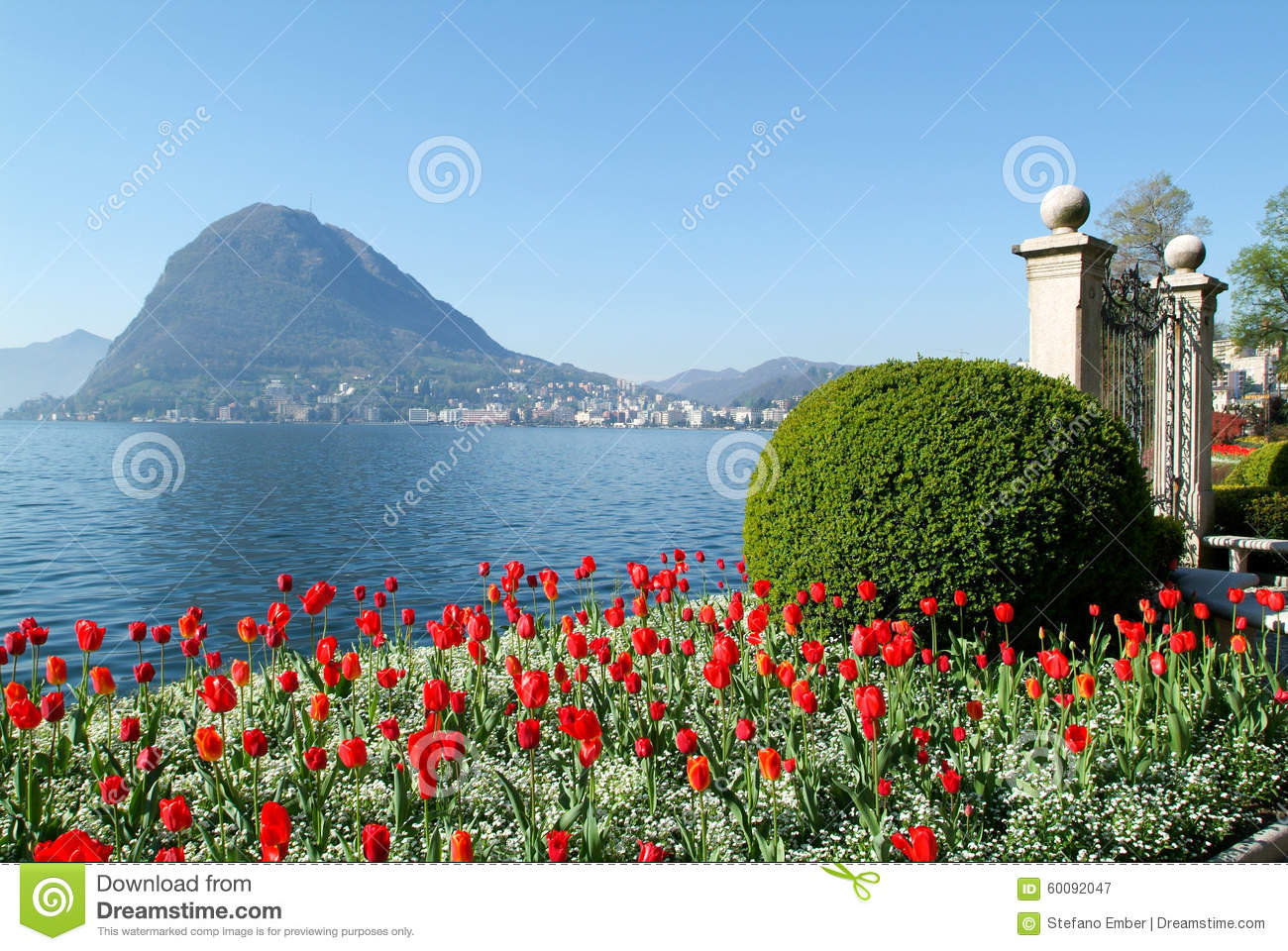 View Of The Bay From The Botanical Garden At Lugano Stock Photo 72055080