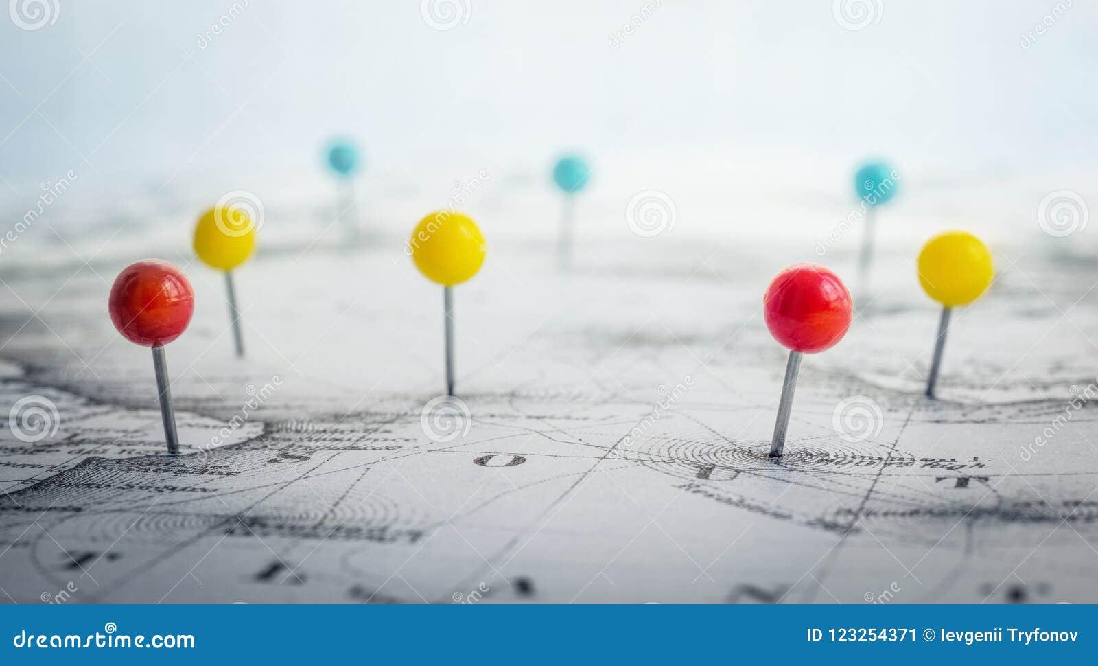Lugar da marcação do Pin no mapa A aventura, descoberta e viaja