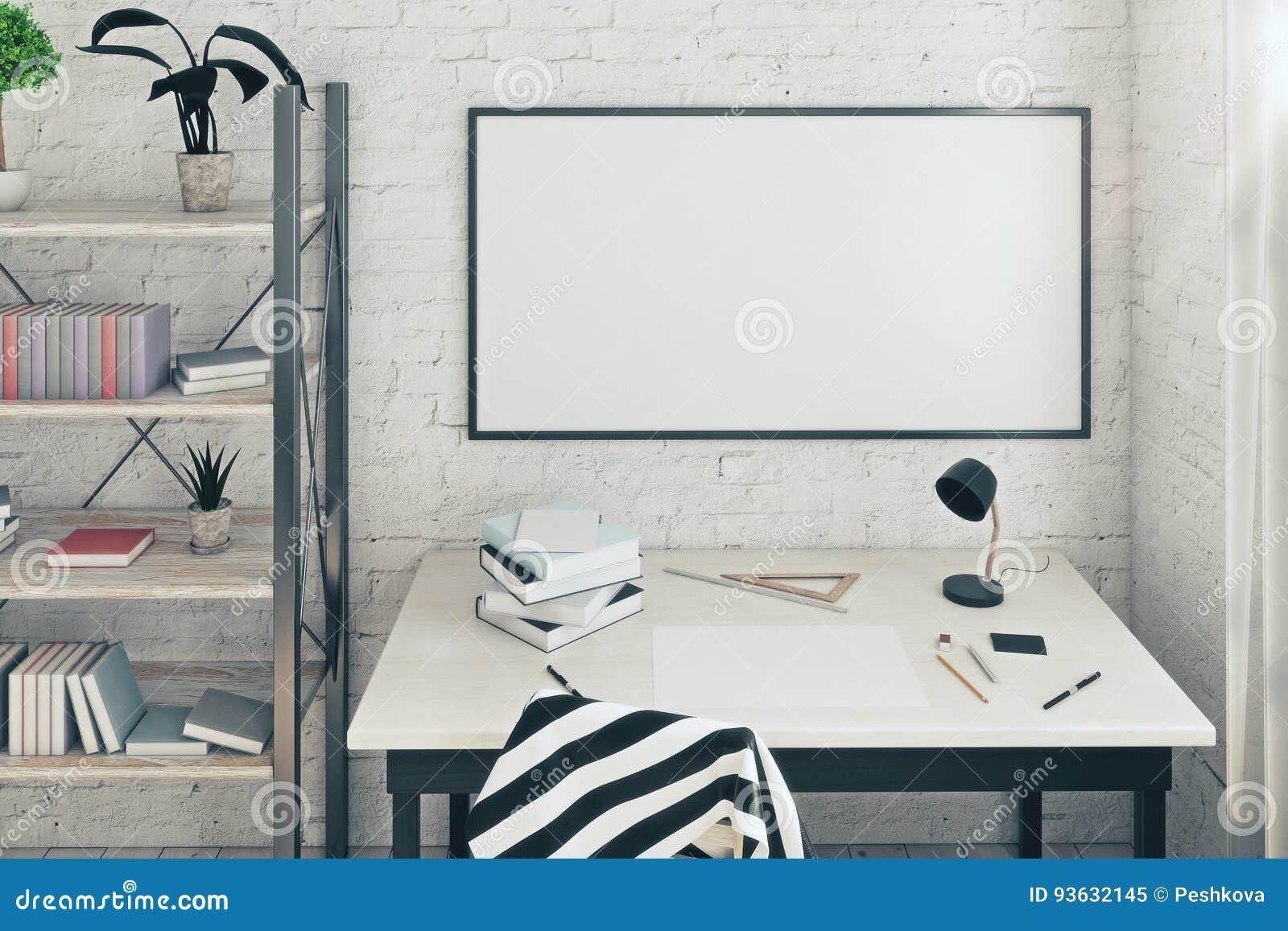Lugar de trabajo con el marco vacío
