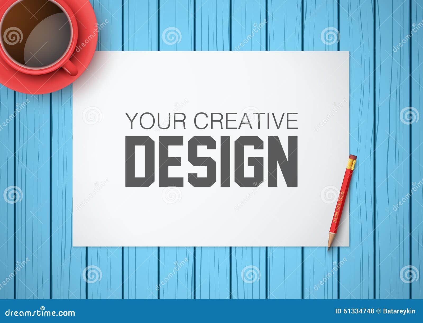 Lugar de trabajo creativo con el Libro Blanco Visión superior