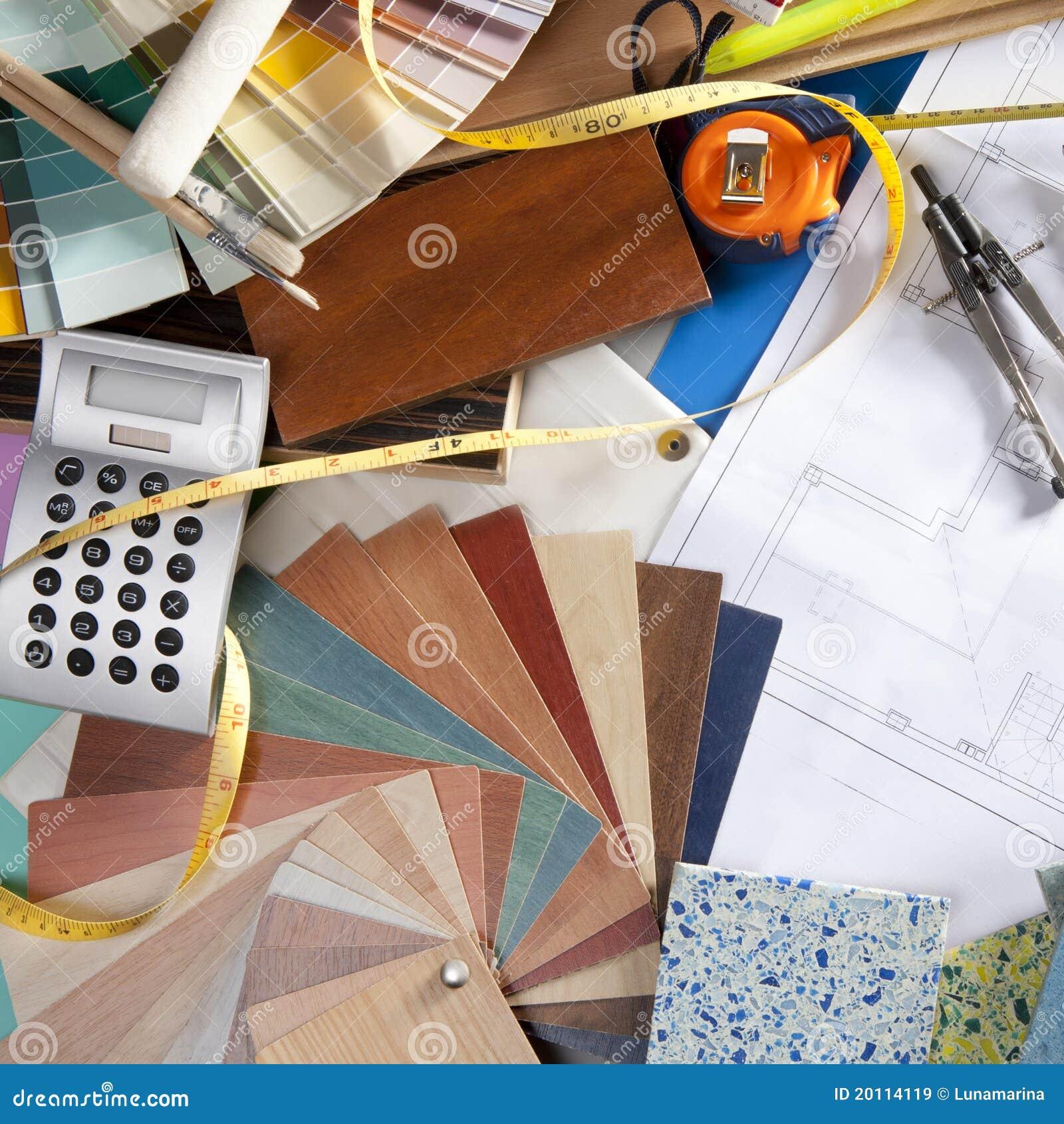 Lugar de trabajo del dise ador interior del escritorio del - Disenador de interiores trabajo ...