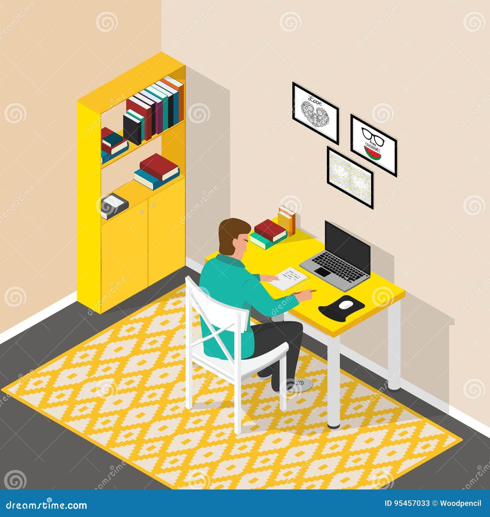 Lugar de trabajo isométrico en el cuarto Escritorio del ordenador con el ordenador portátil y los libros El hombre se está sentan