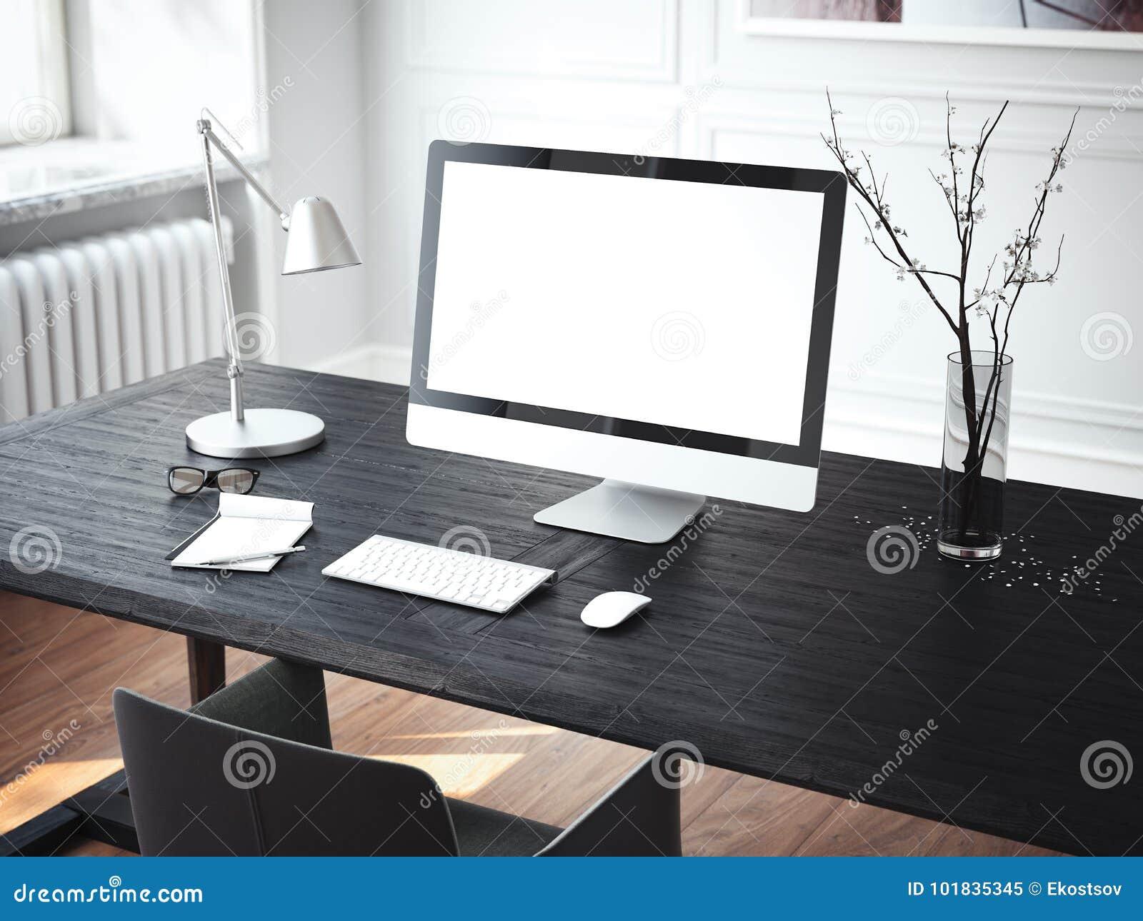 Lugar de trabajo moderno con el ordenador representación 3d