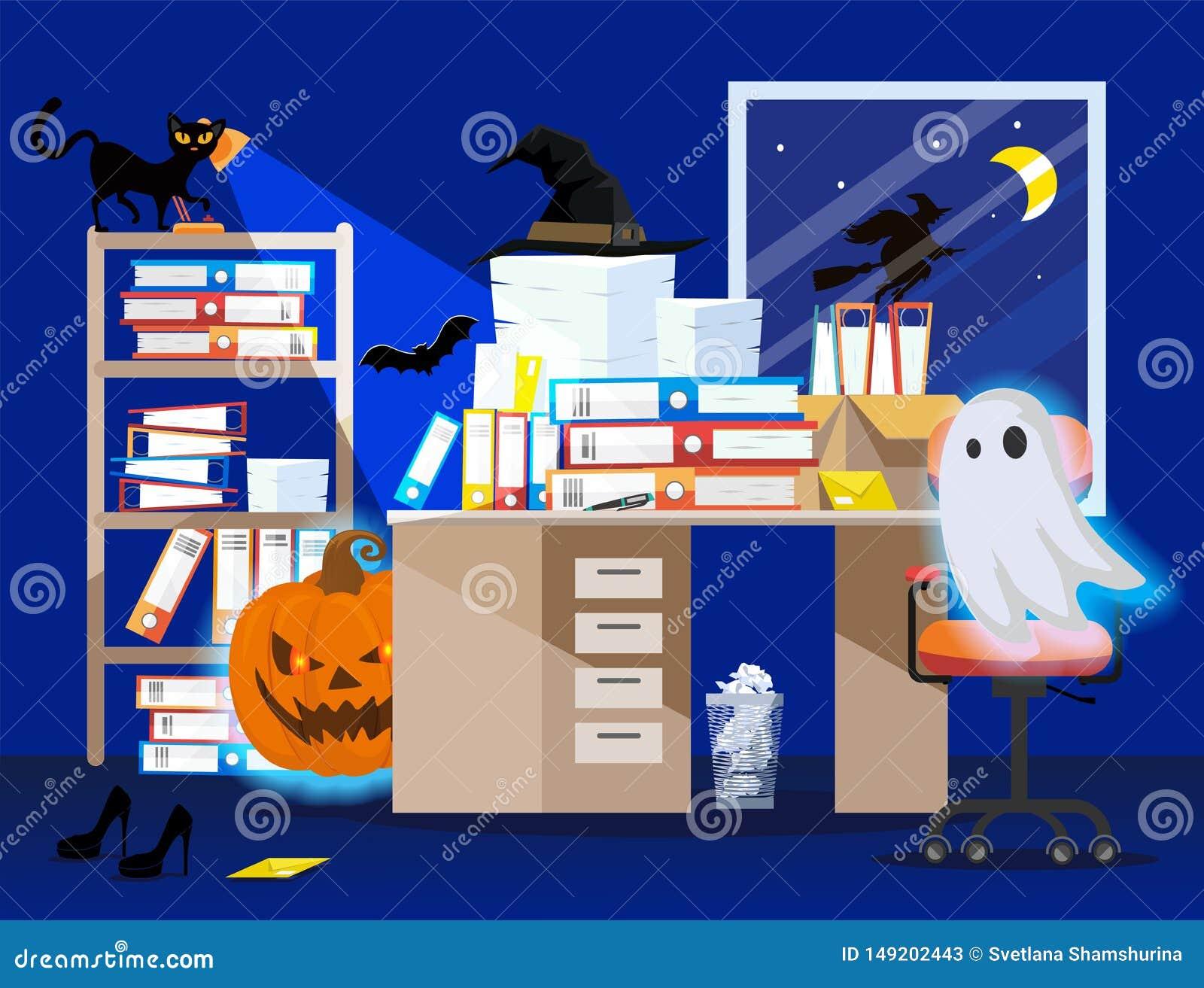 Lugar de trabalho no feriado Dia das Bruxas na cor azul Ilustração lisa da sala do escritório interior com abóbora, fantasma de i