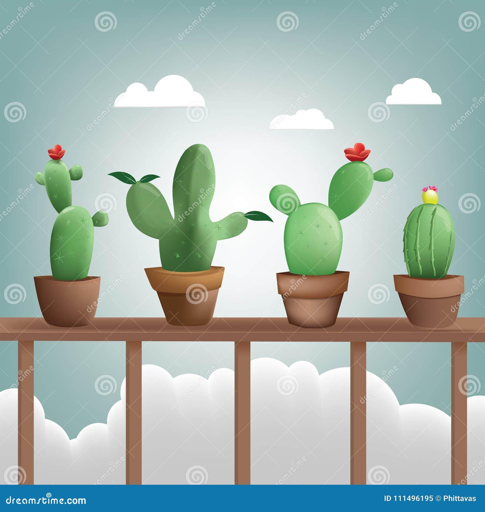 Lugar Del Cactus De La Colección En Terraza De Madera Como