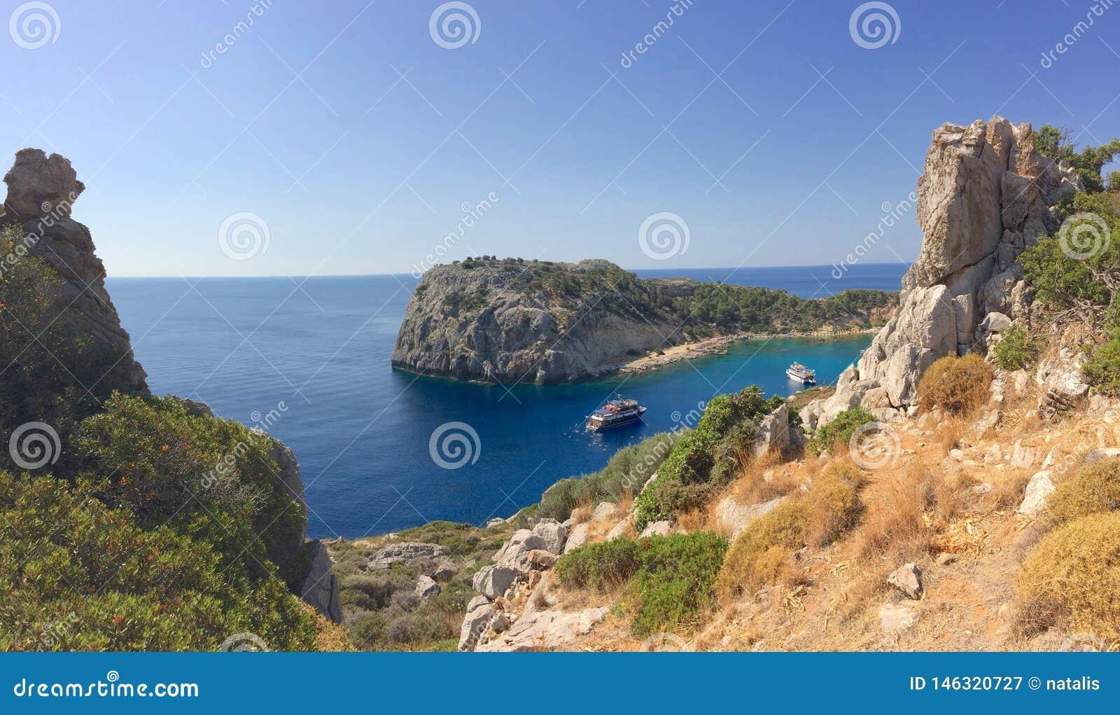 Lugar pitoresco de Anthony Quinn Bay Faliraki Greece Rhodes
