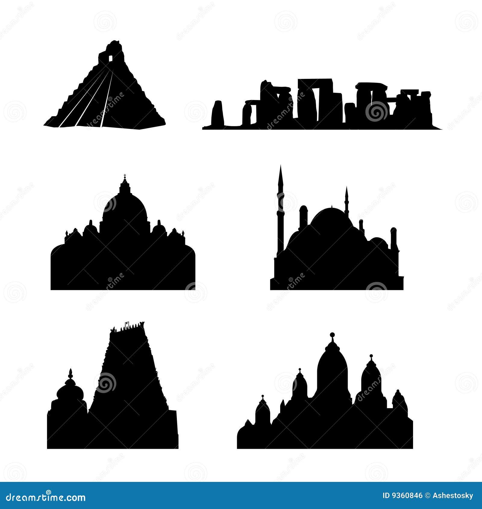 Lugares santos do vetor do mundo